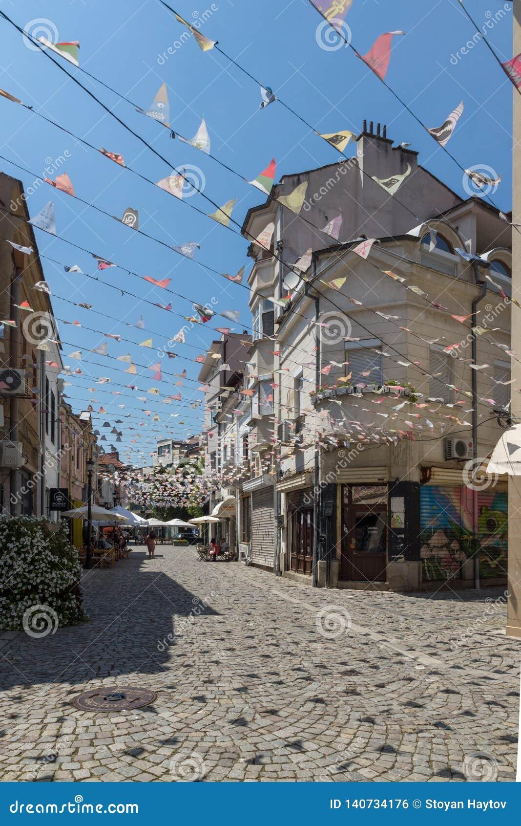 Straat en huizen in district Kapana, stad van Plovdiv, Bulgarije