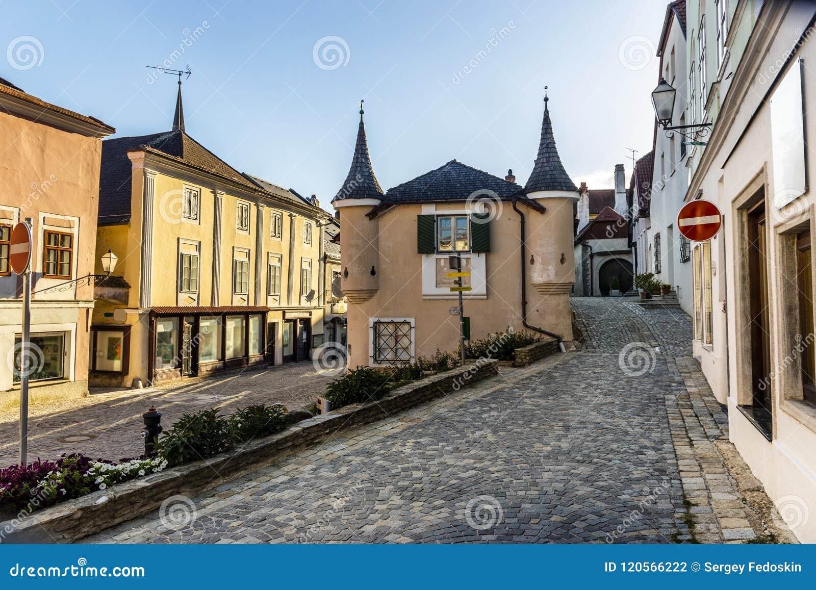 Straat in Melk-stad in Oostenrijk