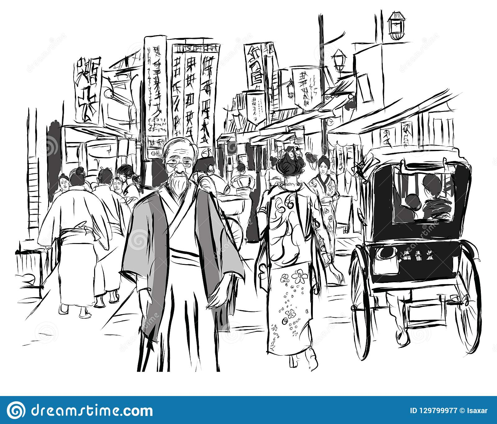 Straat in Tokyo met mensen in traditionele kleding