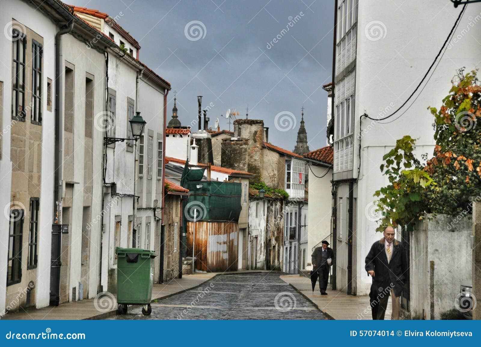 Straat van de Spaanse stad van Oviedo provincie van Asturias