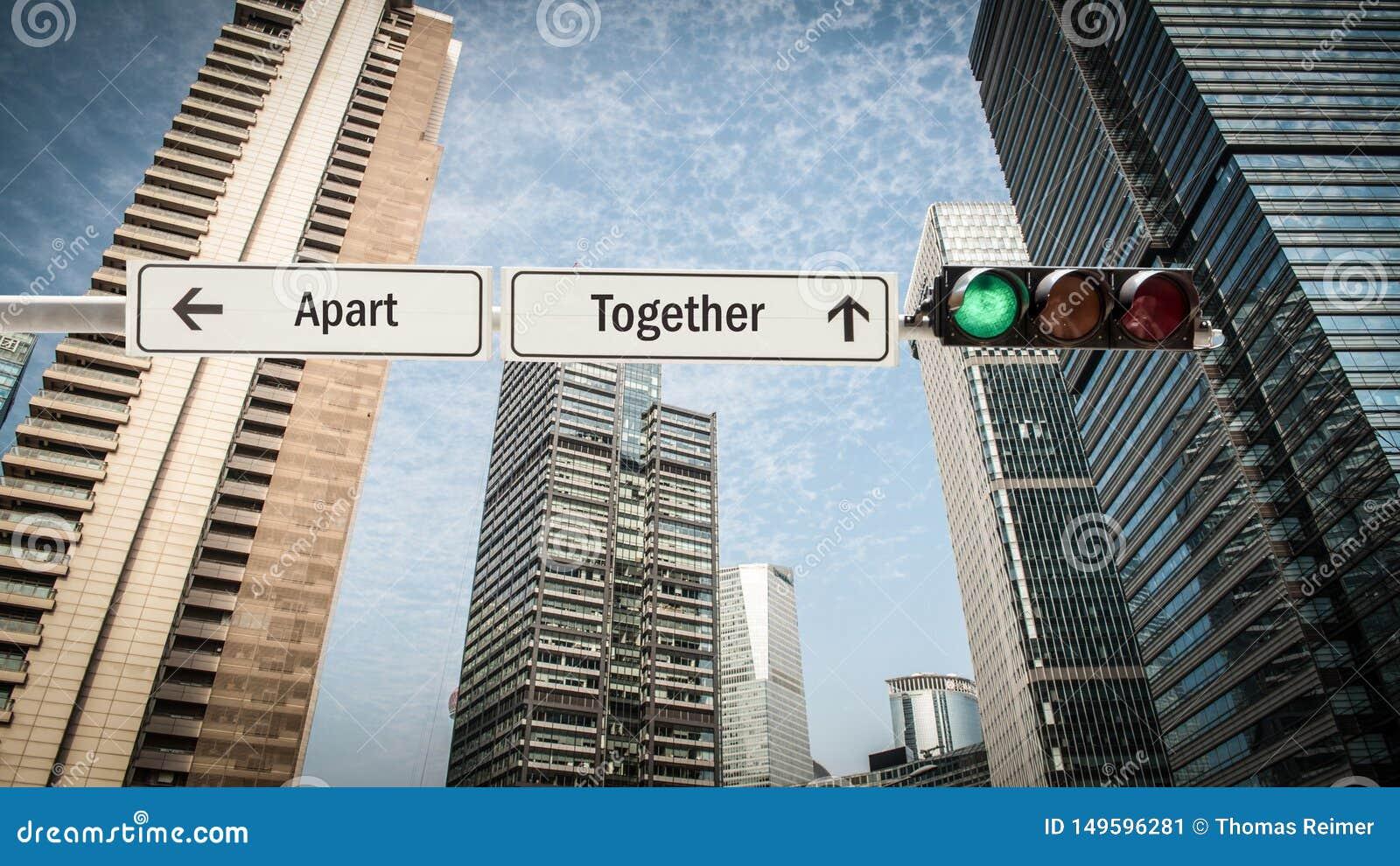 Straatteken aan samen tegenover apart