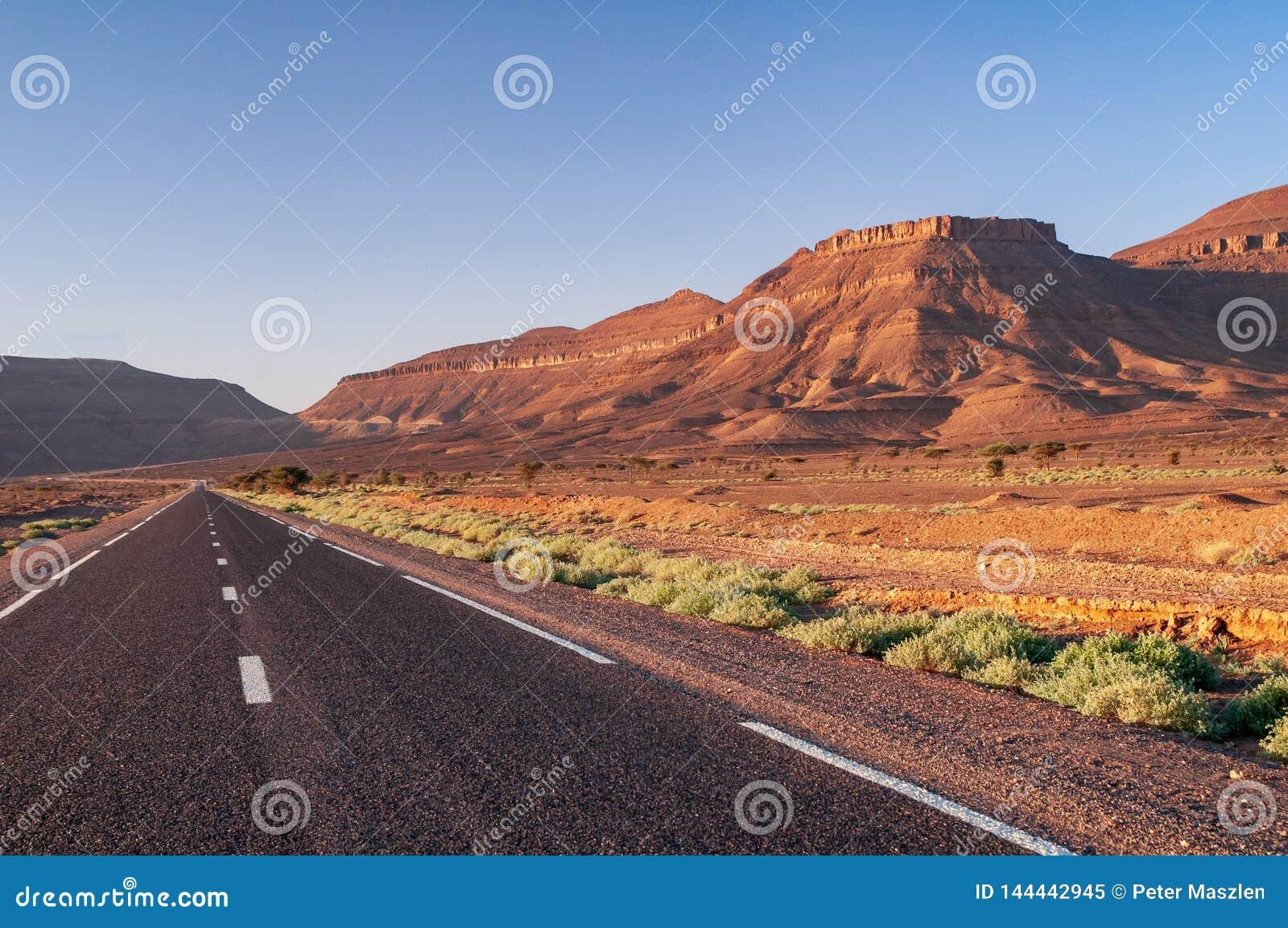 Strada asfaltata diritta nel deserto del Marocco
