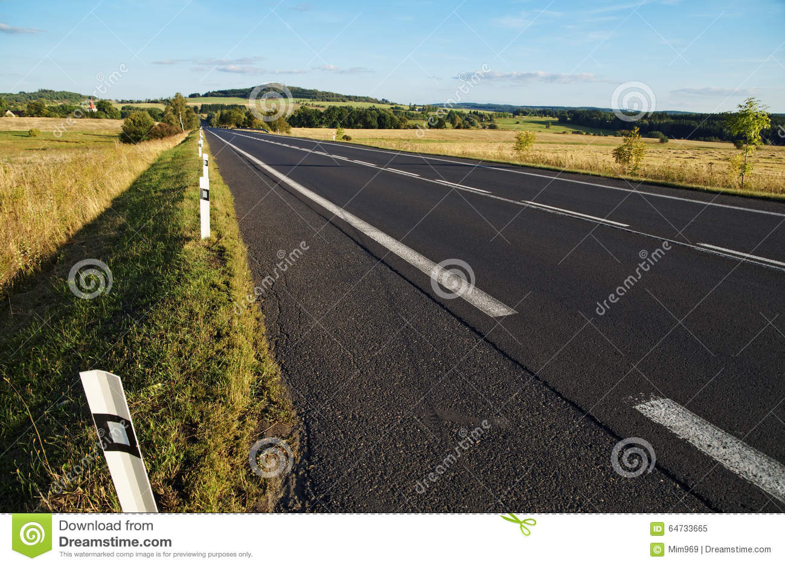 Strada asfaltata vuota attraverso i campi verso l orizzonte in un paesaggio rurale