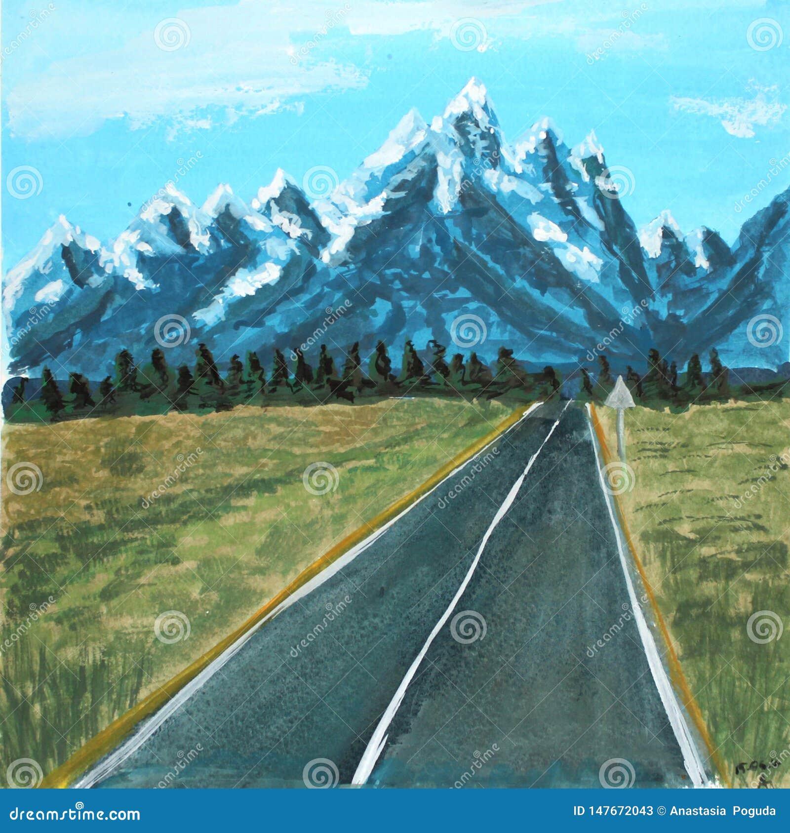 Strada del paesaggio dell acquerello alle montagne illustrazione del quadro televisivo per la progettazione