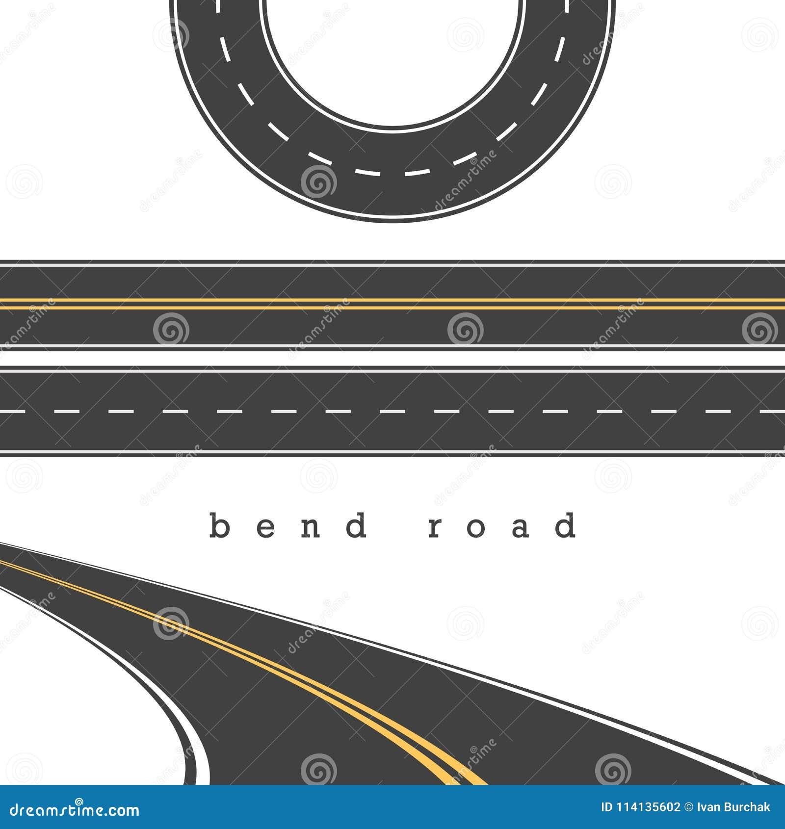 Strada della curvatura, diritto ed insieme curvo di vettore delle strade, bivio Illustrazione di vettore Segnaletica stradale bia