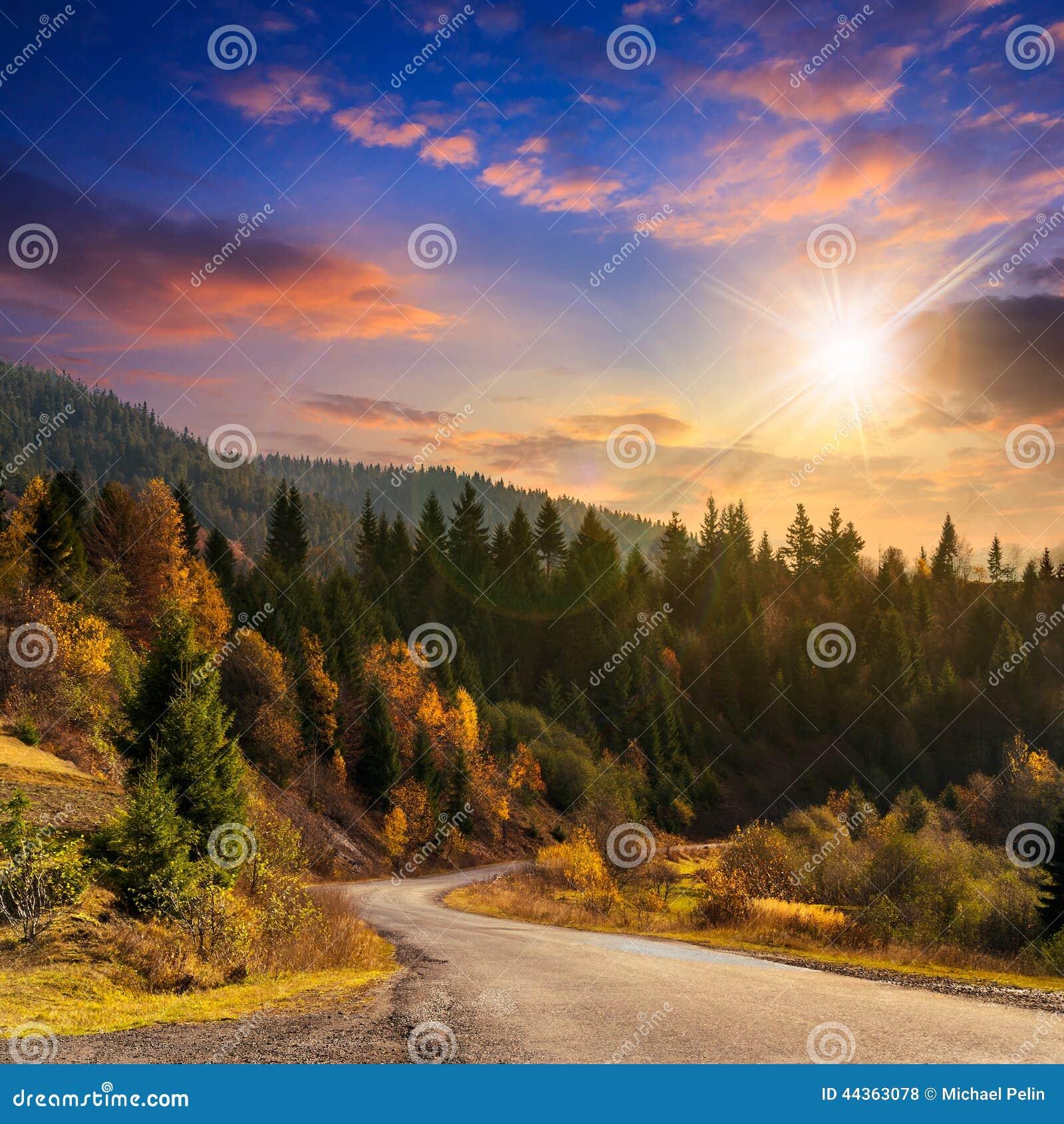 Strada di bobina alla foresta in montagne al tramonto