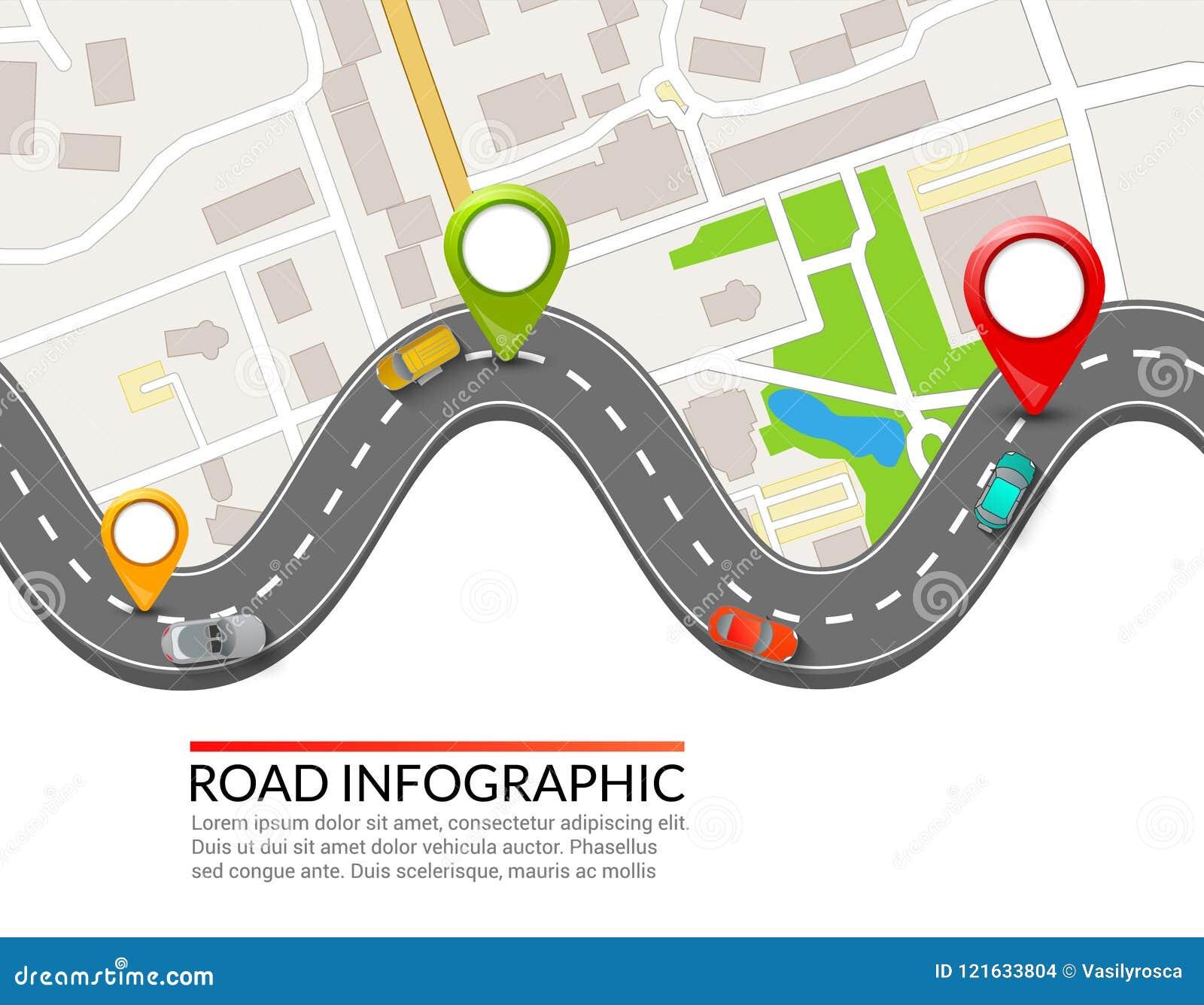 Strada infographic Puntatore variopinto del perno Progettazione infographic dell illustrazione di vettore della via della strada