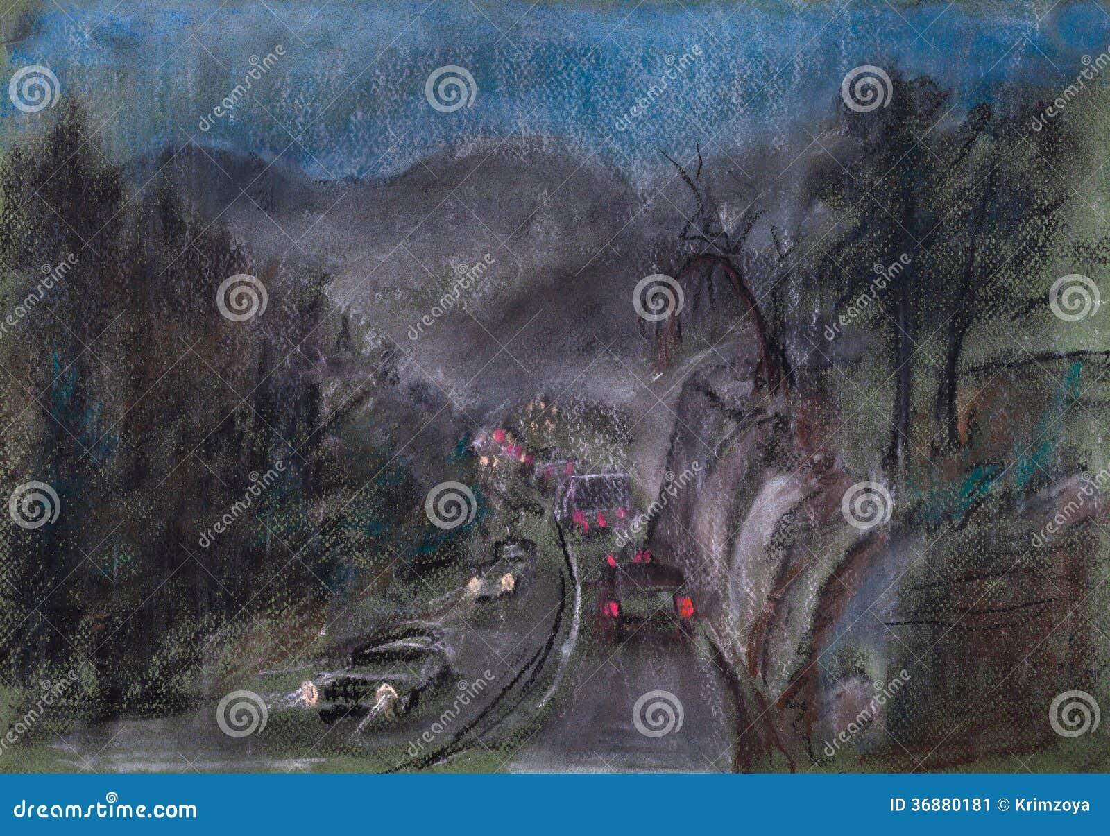 Download Strada nel giorno piovoso illustrazione di stock. Illustrazione di montagne - 36880181