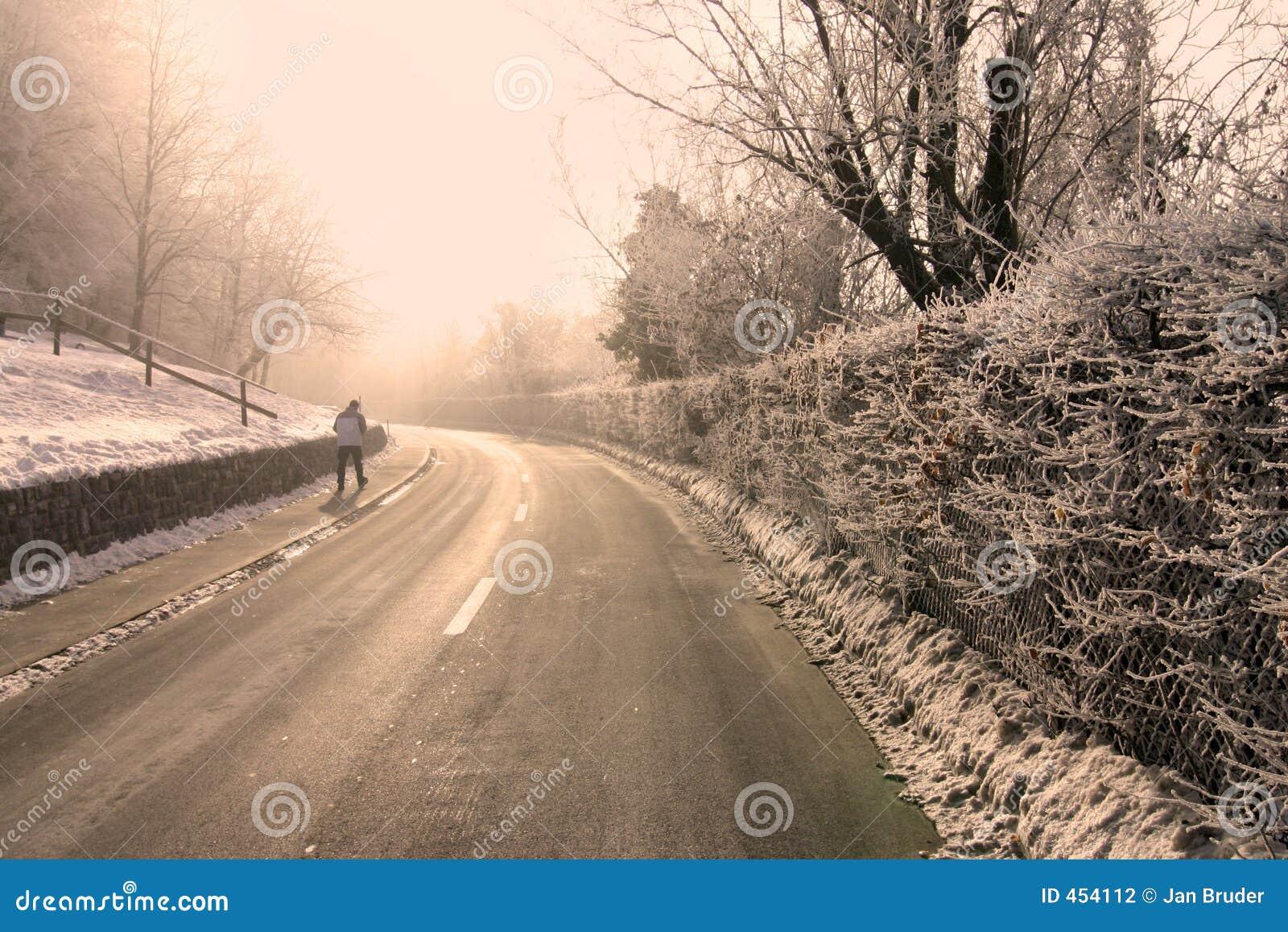 Strada piena di sole di inverno