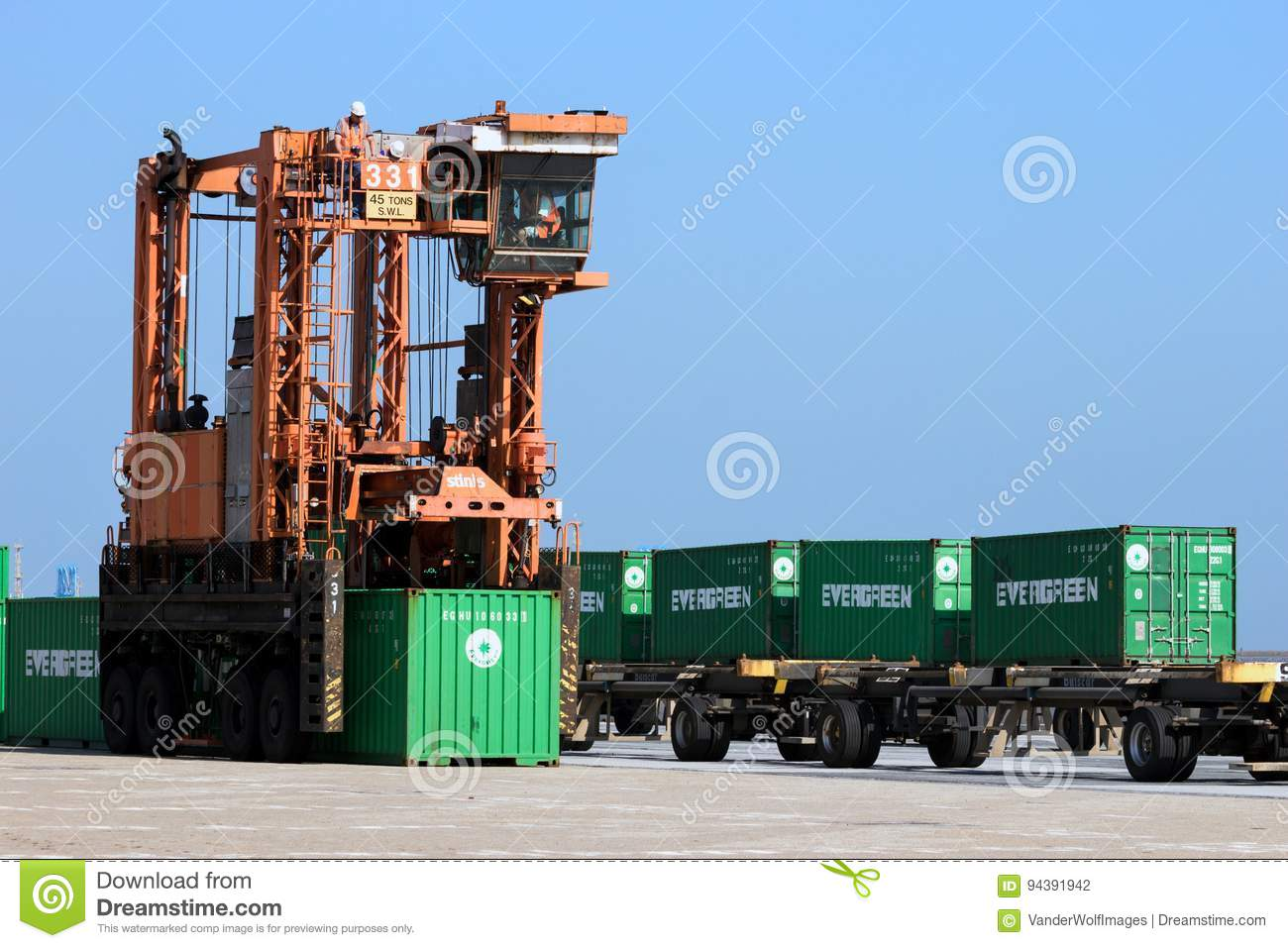 Straddle Carrier Shipping Container Editorial Photography