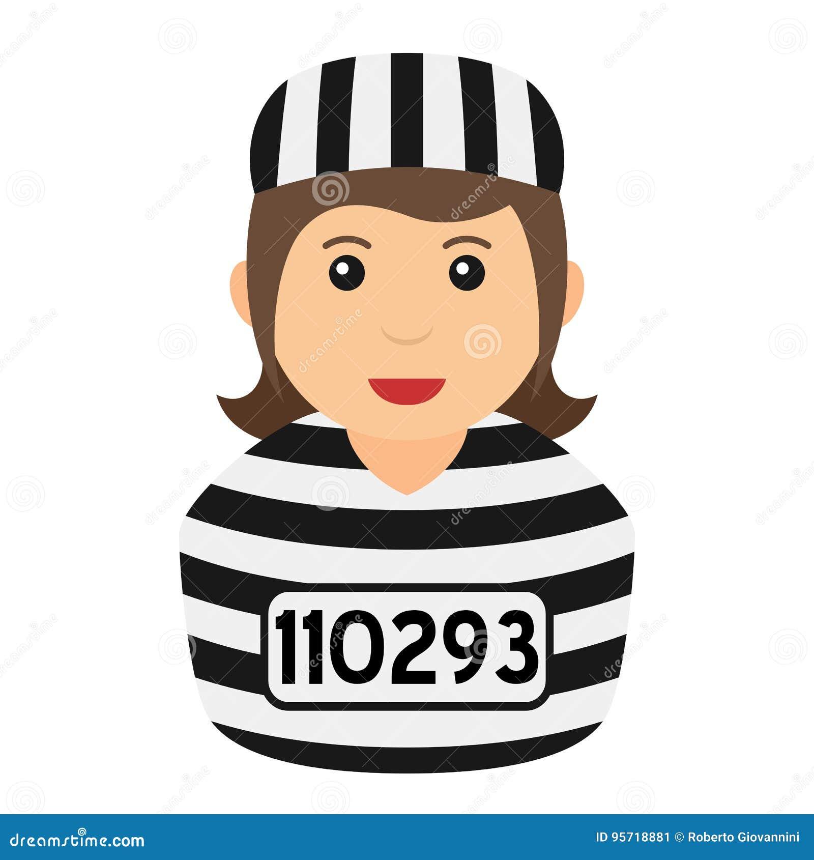 Strafgefangene-Frauen-Avatara-flache Ikone auf Weiß