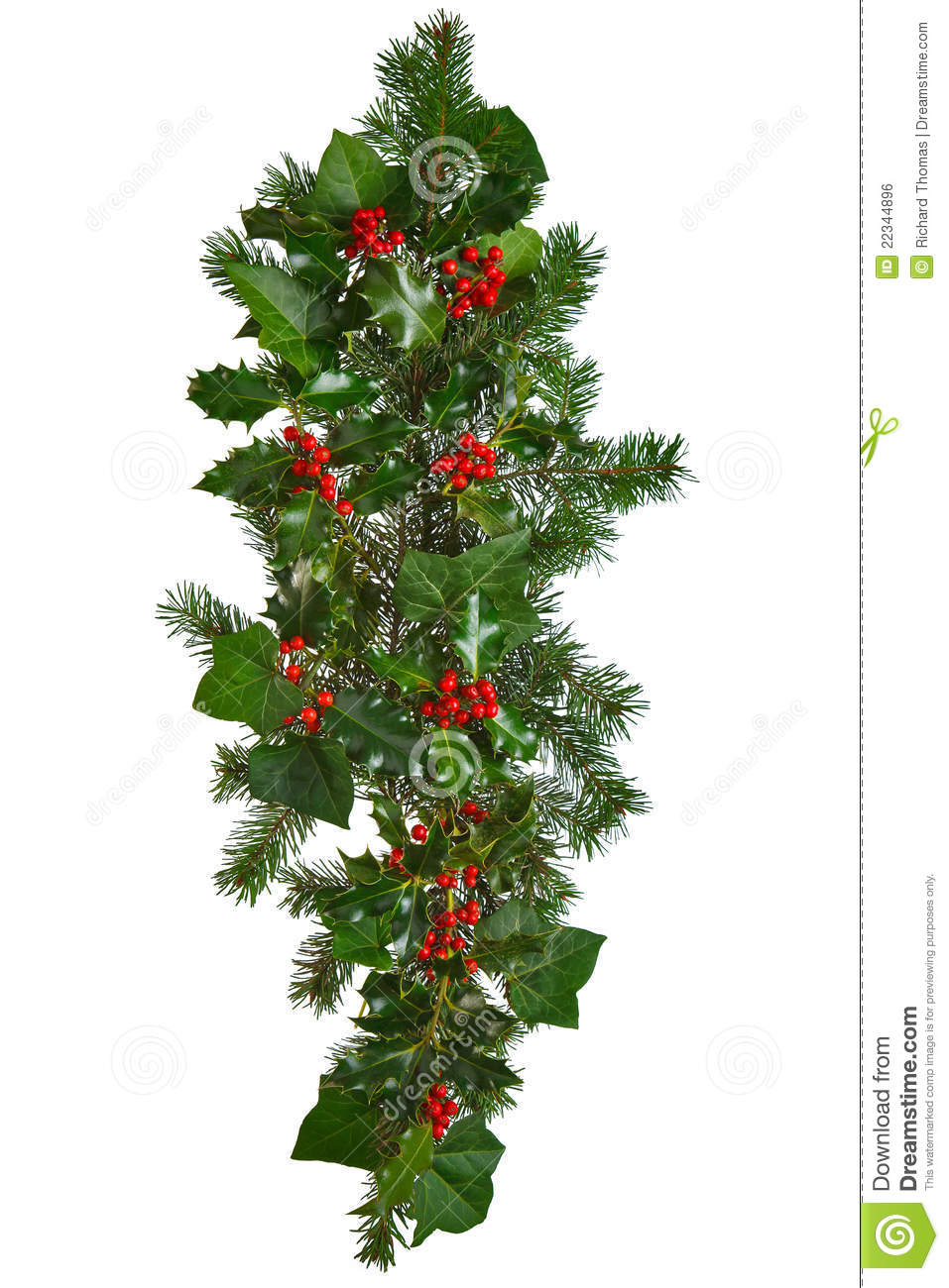 Photo Of A Straight Christmas Garland With Holly Red Berries Ivy And Spruce Isolated On White Background