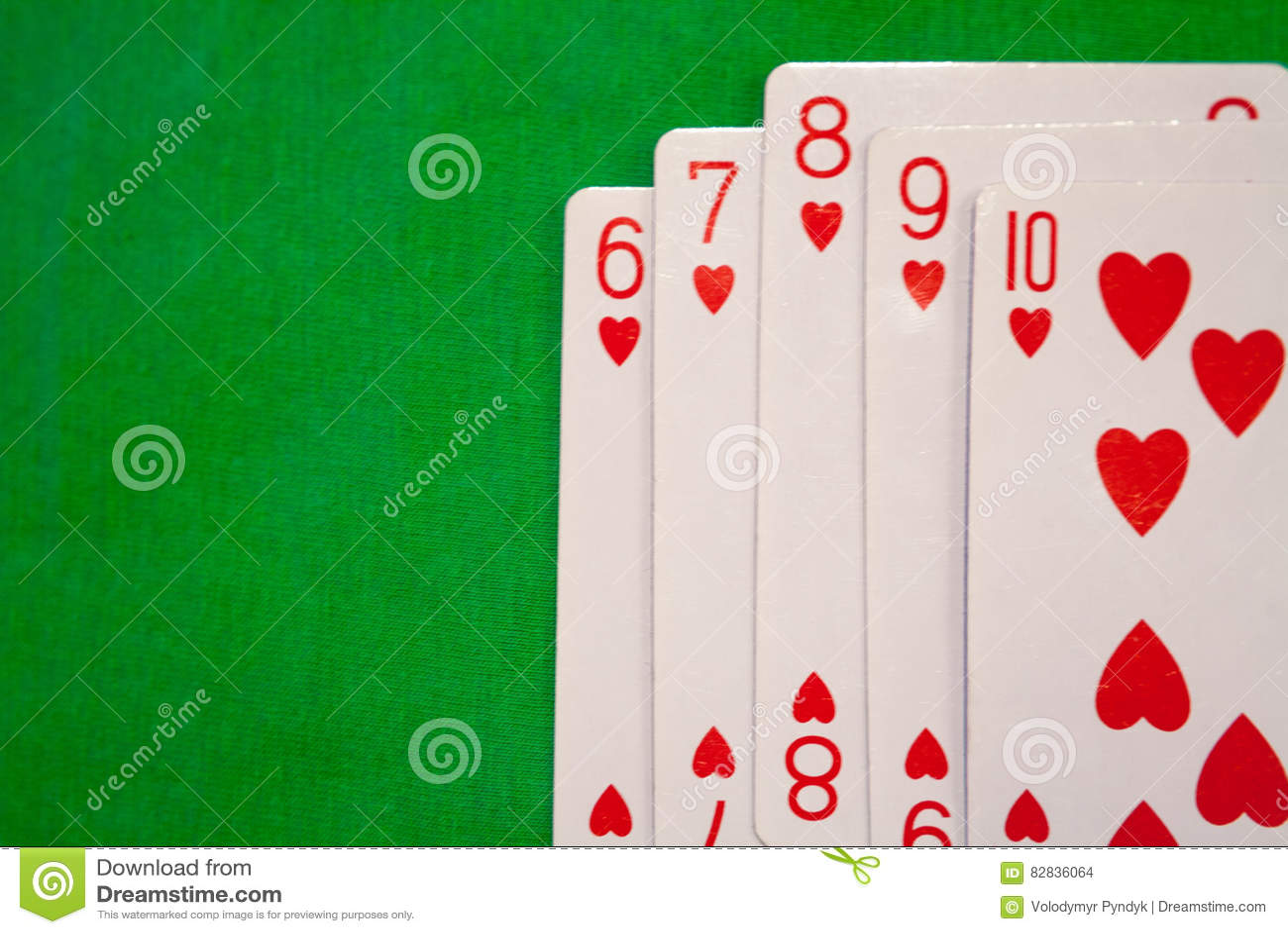 Straight Flush Poker Cards Combination On Green Background Casino