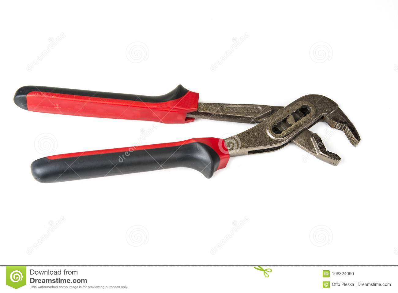 Straight Jaw Tongue And Groove Pliers On The White Background  Stock