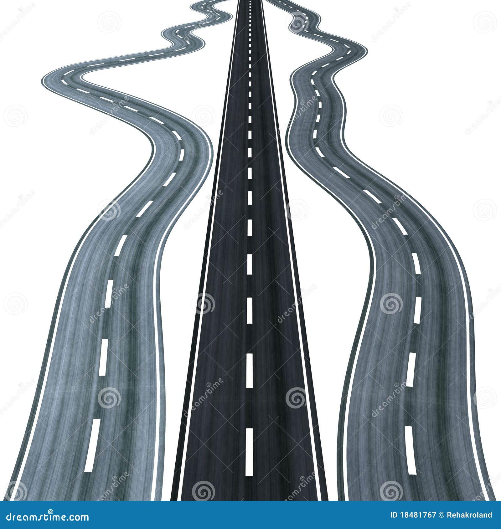 straight road among winding ones stock illustration illustration