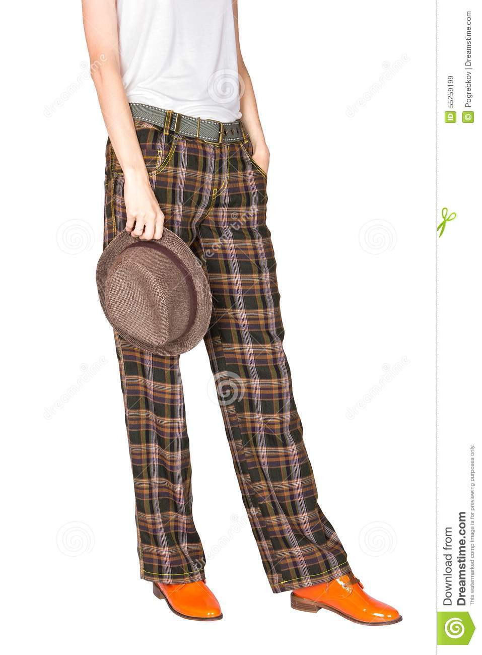 Straight wide plaid pants and stingy brim hat