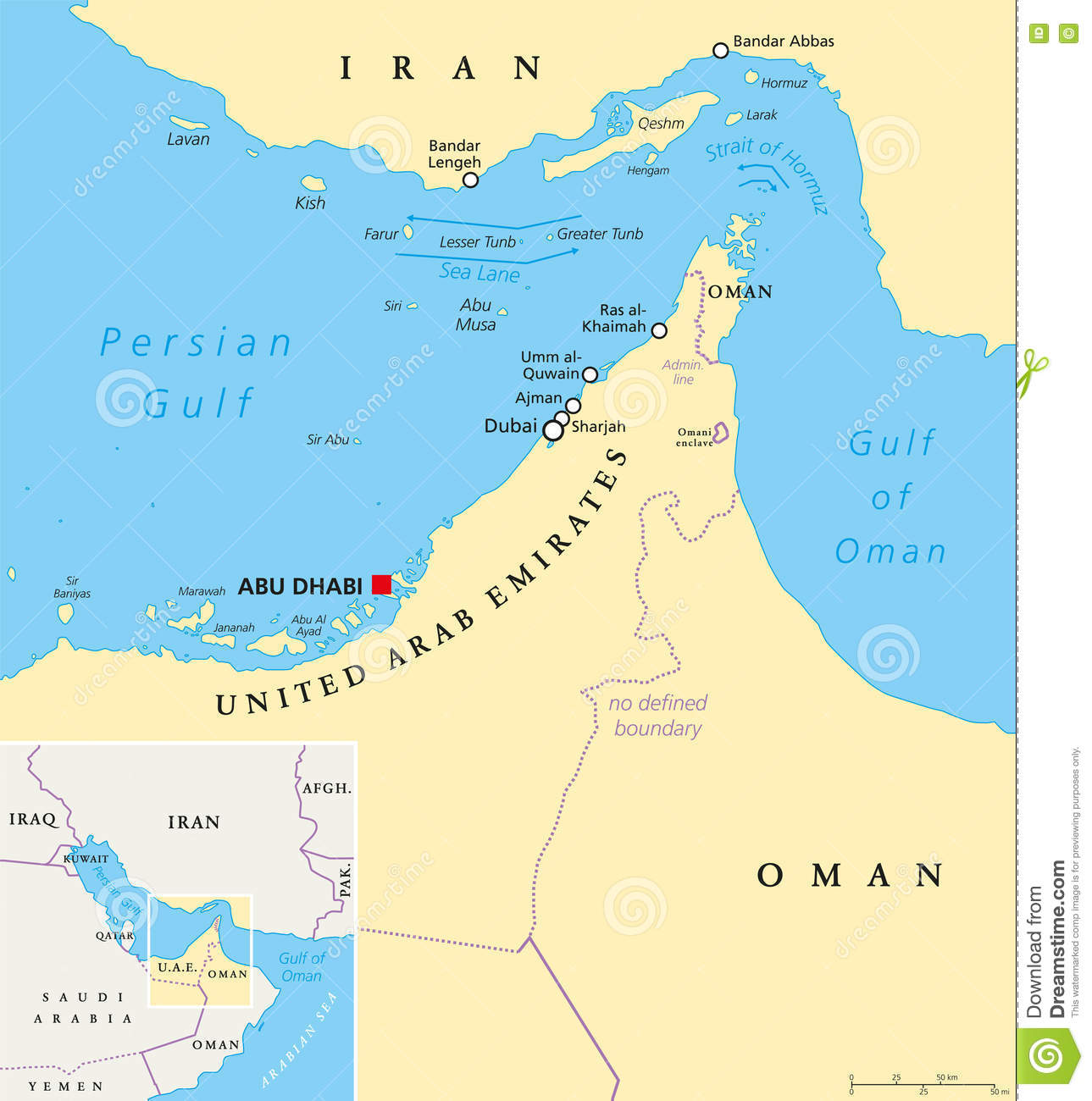 Strait Of Hormuz, Abu Musa And The Tunbs Political Map Stock Vector ...