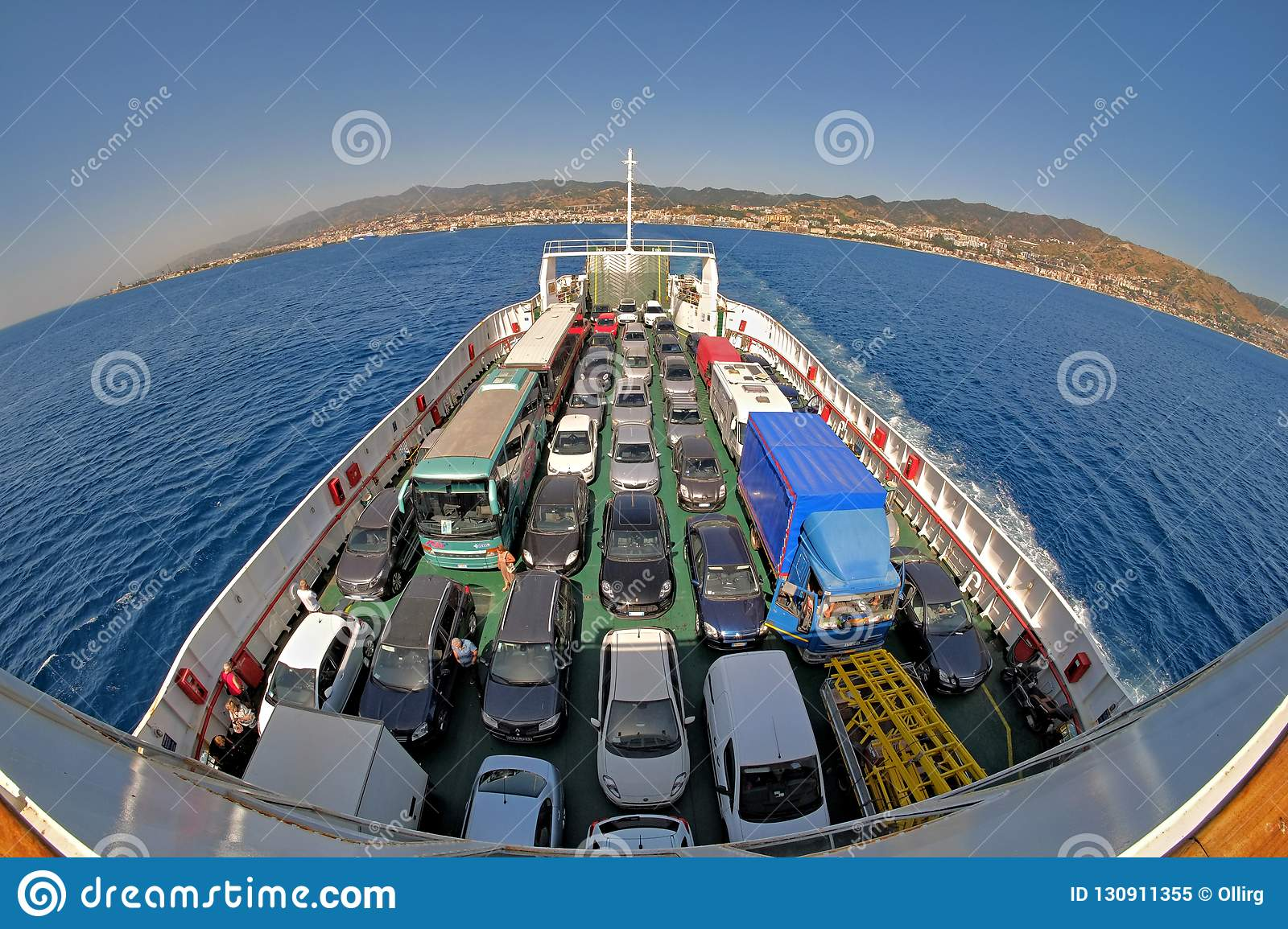 Cars On Ferry Boat Strait Of Messina, Italy