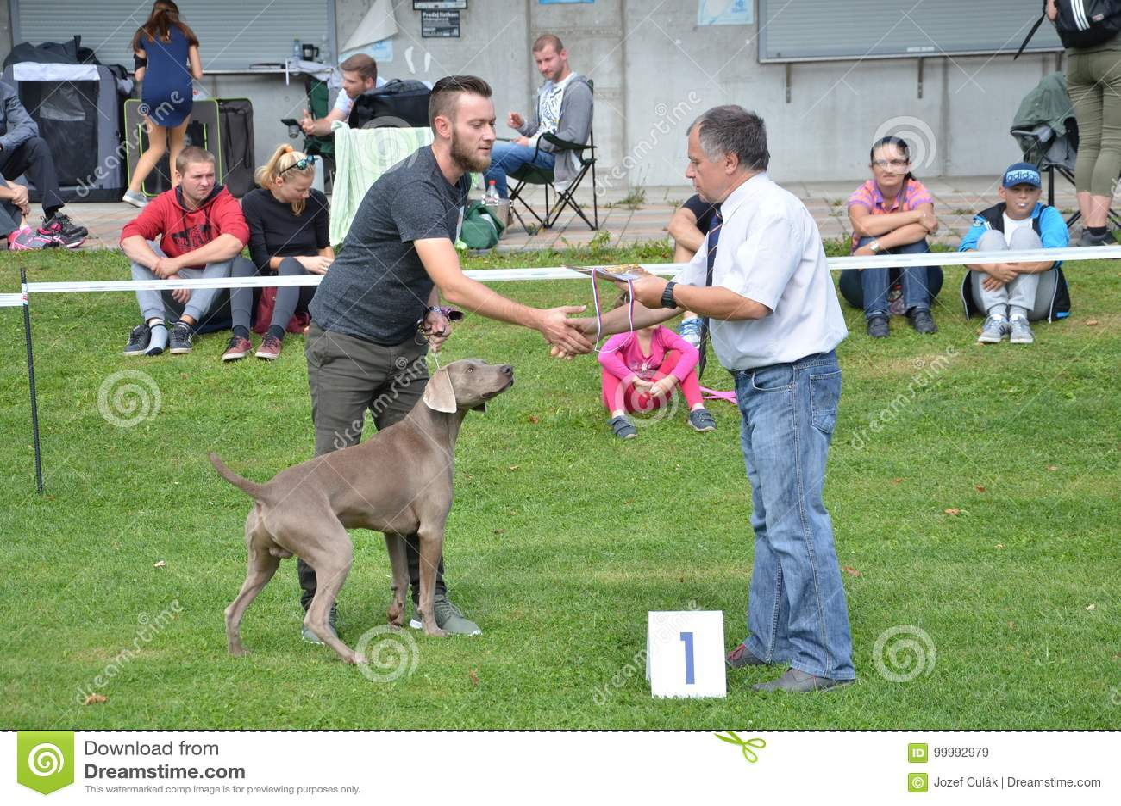Stranavy, Eslovaquia - 10 de septiembre de 2017: El juez felicita al ganador de una categoría en la exposición canina local, perr
