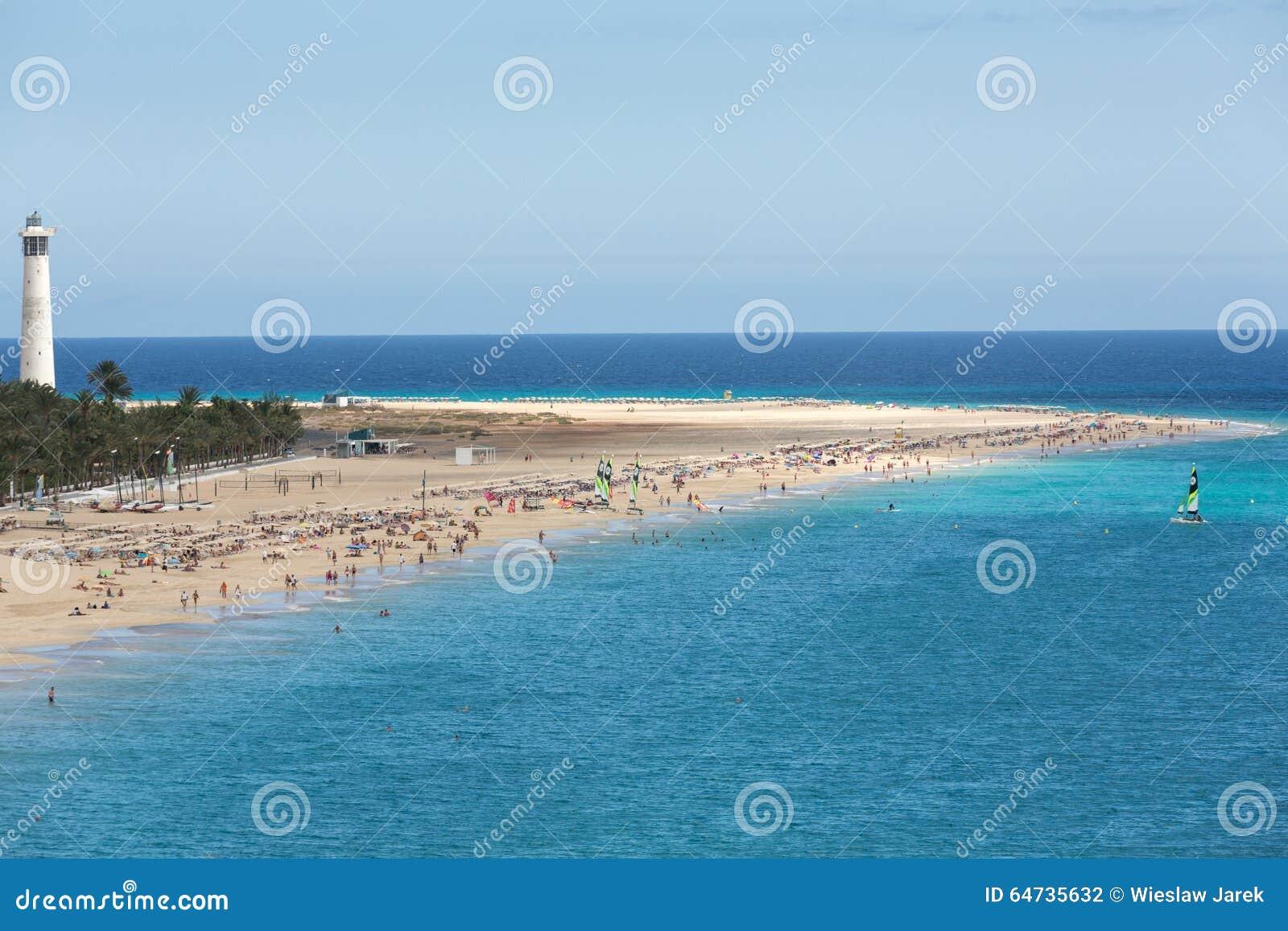 Strand av Morro Jable, kanariefågelö Fuerteventura