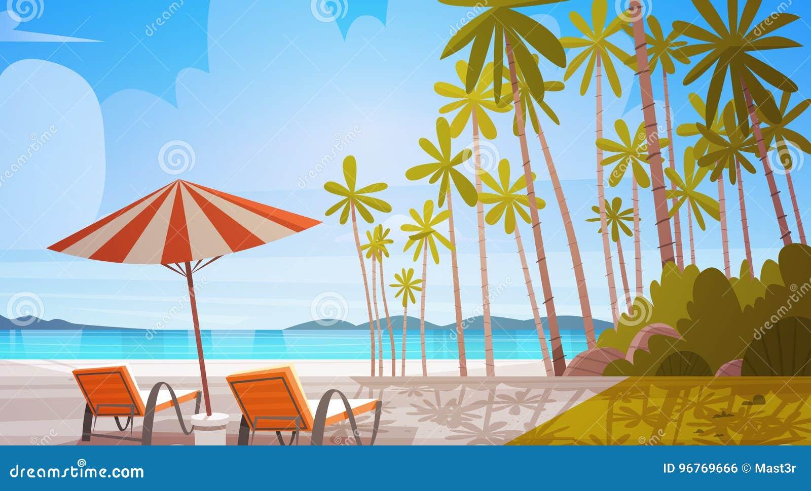 Strand för havskust med för sjösidalandskap för solstolar härligt begrepp för semester för sommar