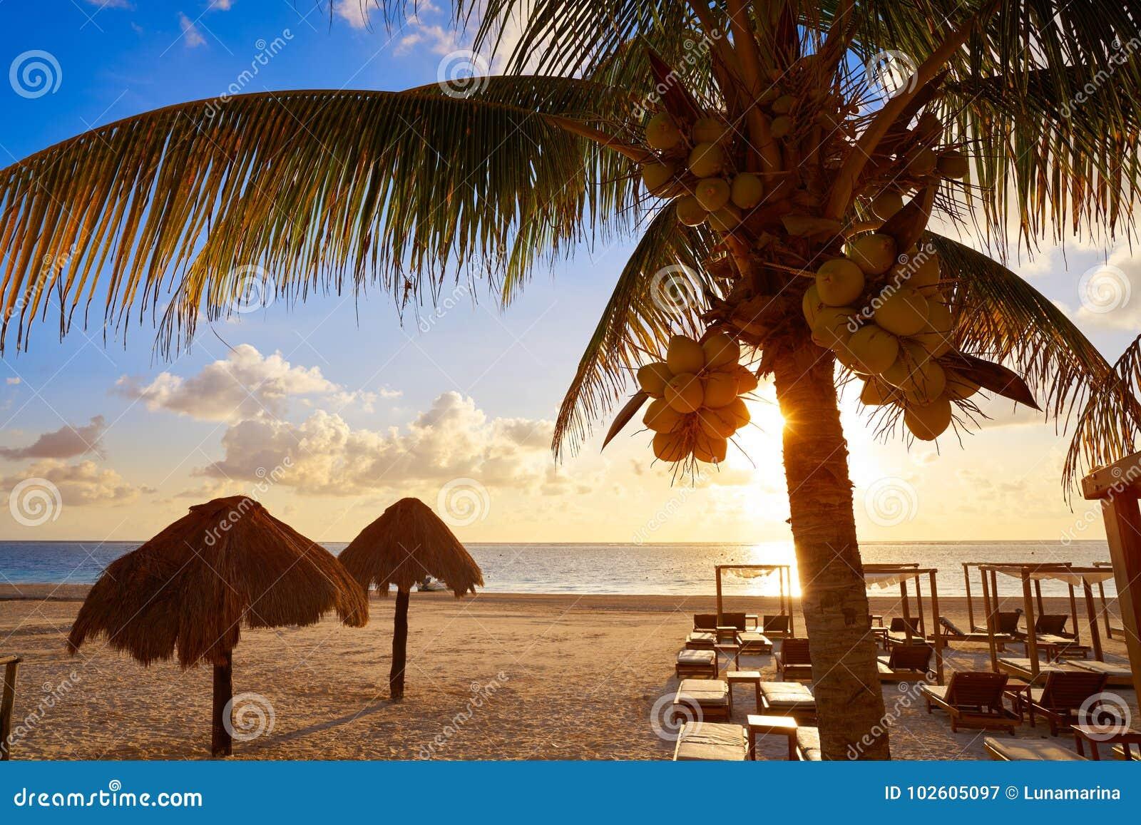 Strand för Riviera Mayasoluppgång i Mexico