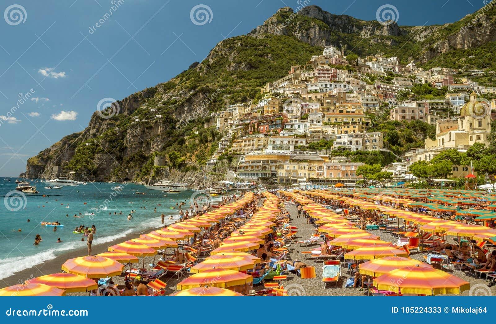Strand i Positano, Italien