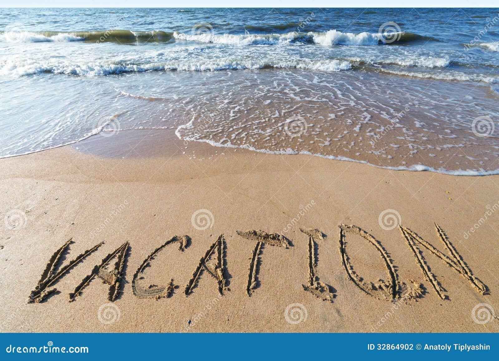 Strand med sandordsemester