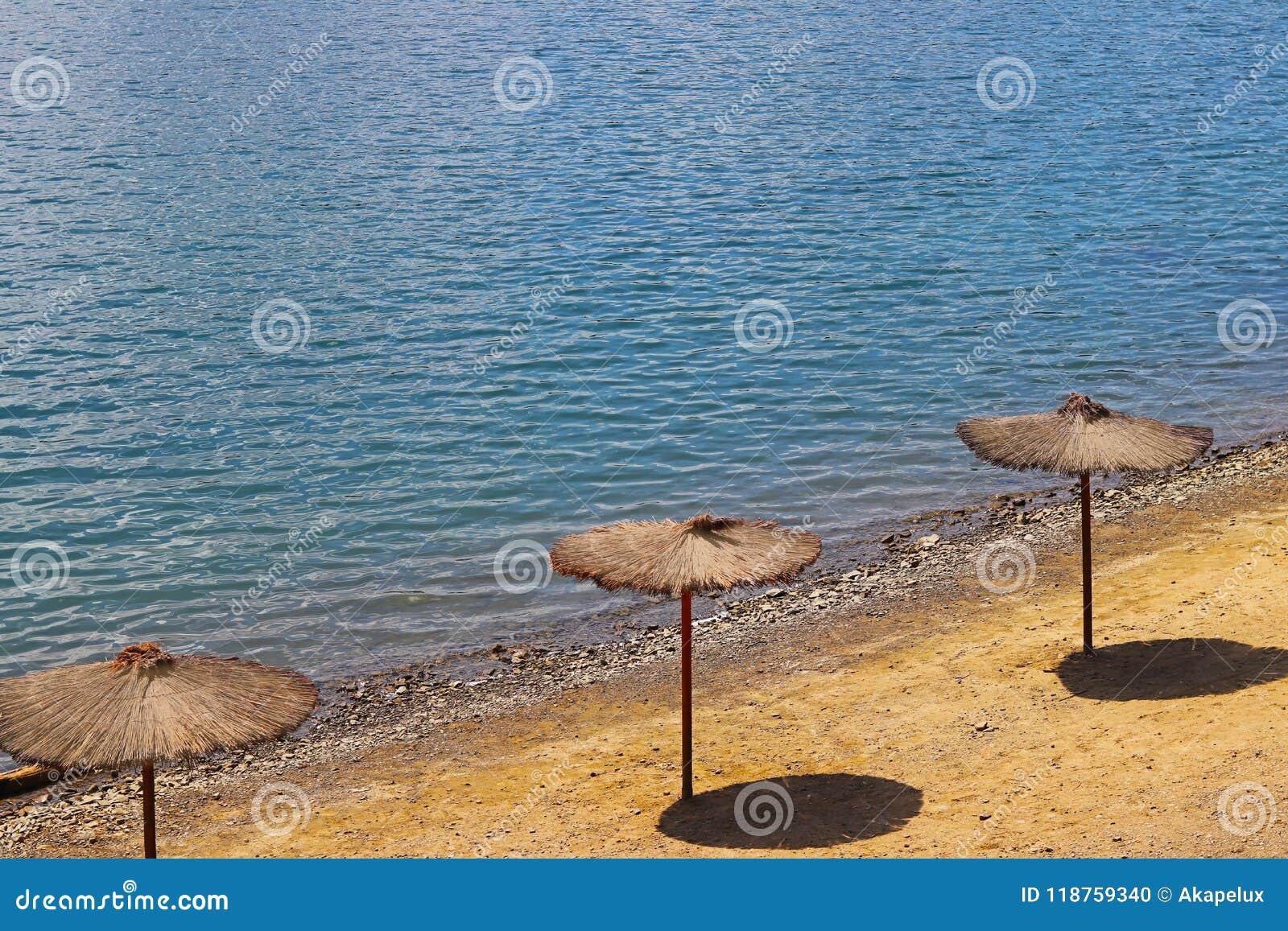 Strand met paraplu s van een klimplant Kwaliteit en comfort van rust bij het water Bescherming tegen zonlicht Rust op het strand