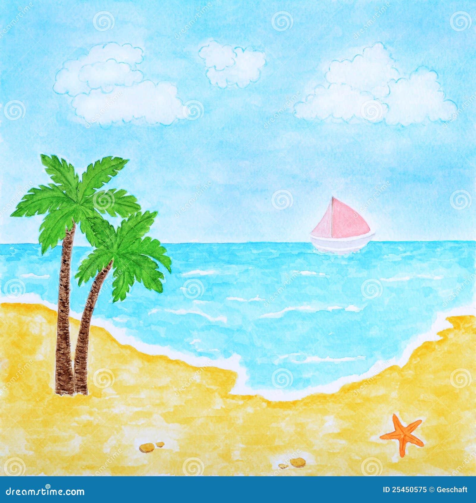 Strand und tropische see oder ozean sommer landschaft for Disegno paesaggio marino