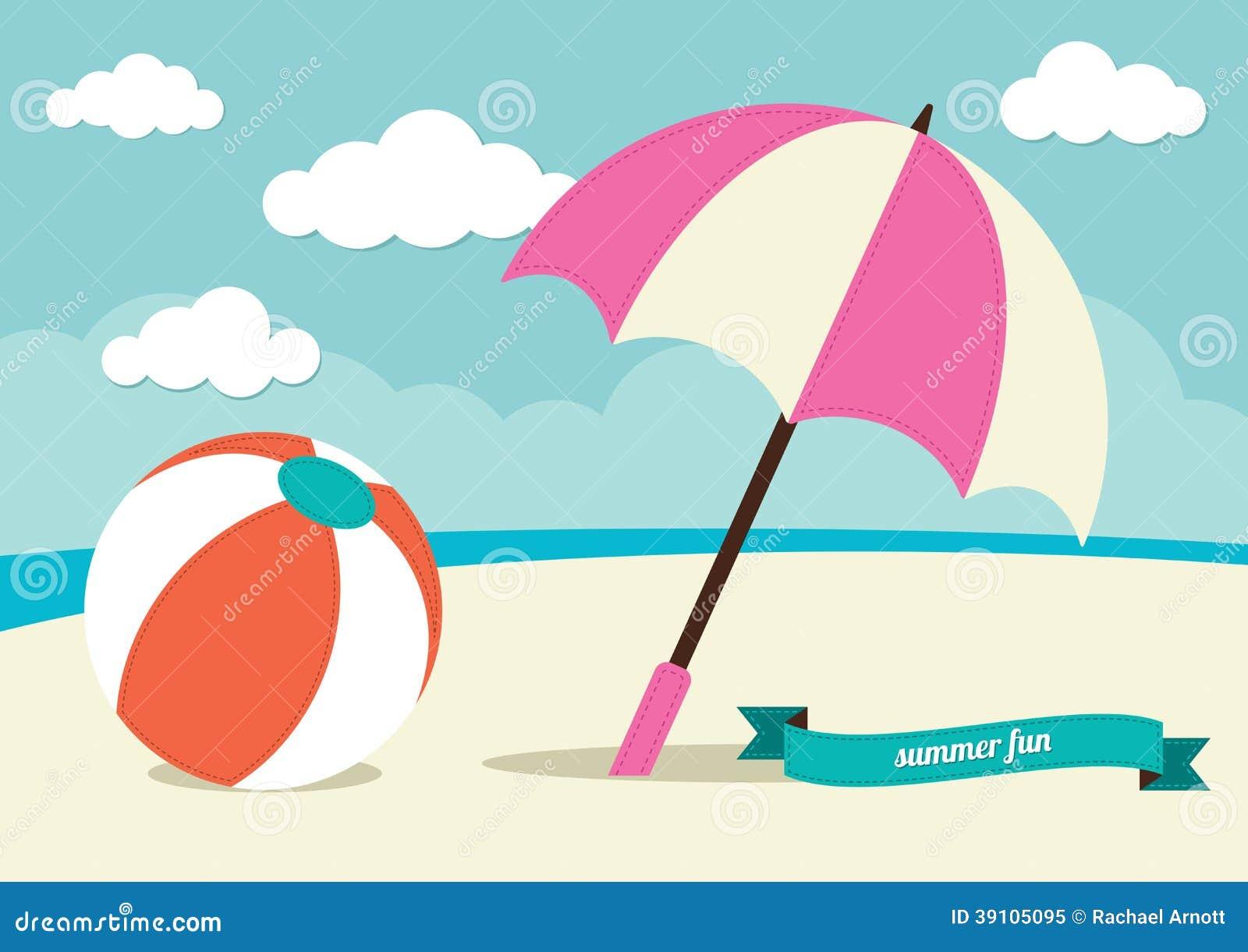Strandbal en Zonparaplu