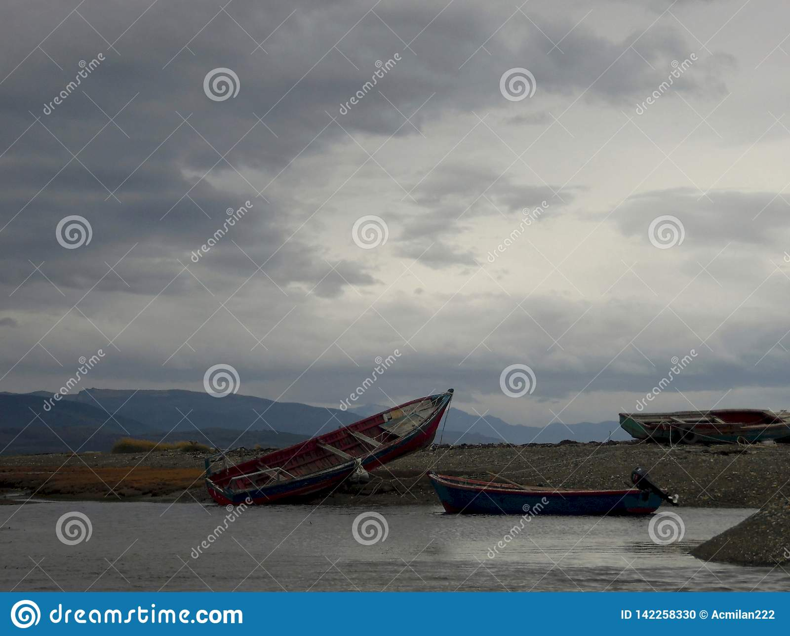 Stranded fishing boats