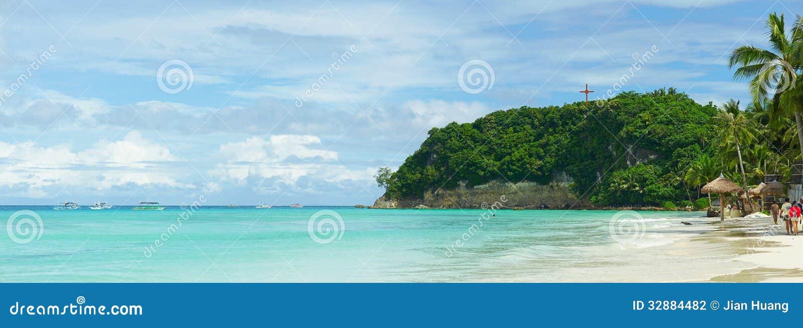 Stranden i den Boracay ön