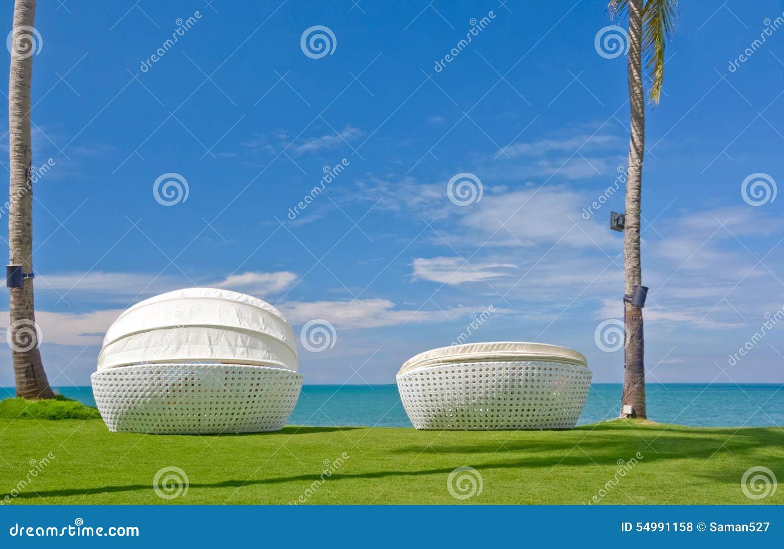 Strandparaply och Sunbath platser