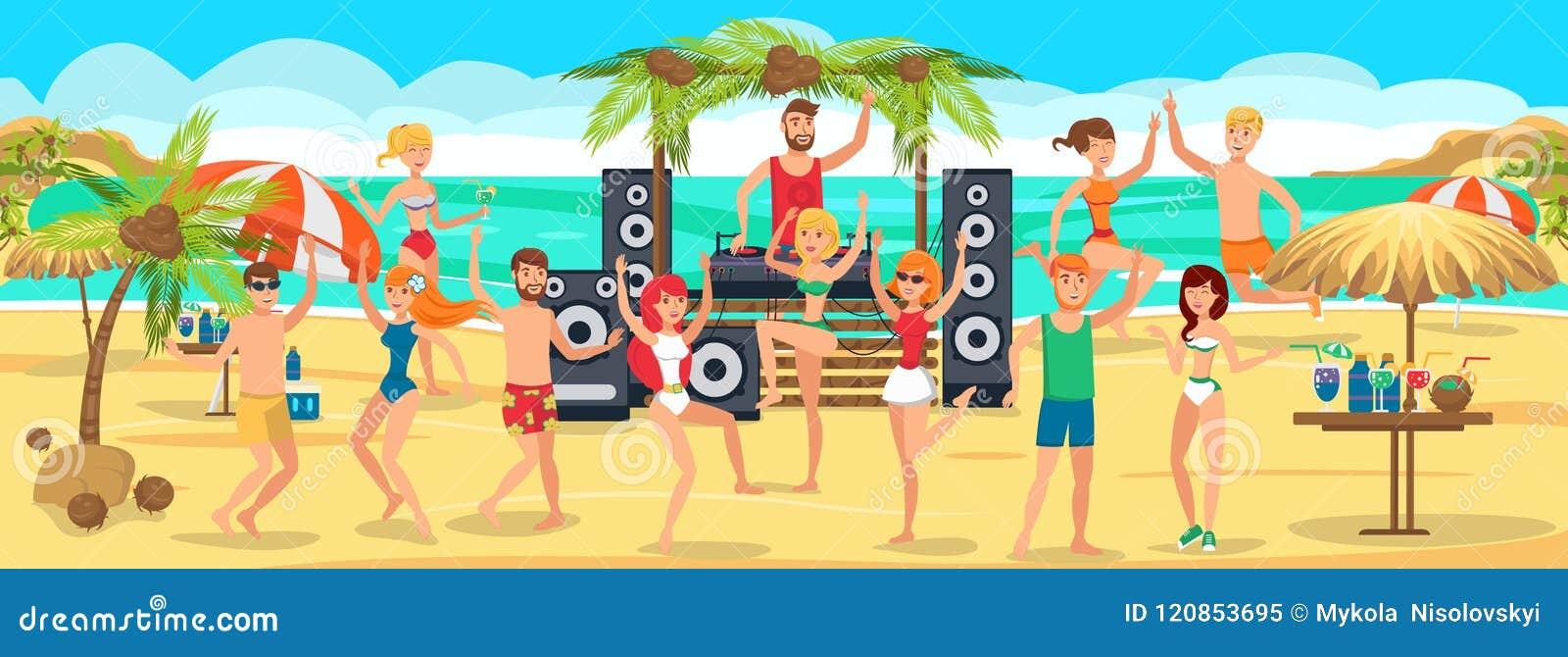 Strandpartij De jeugddansen en dranken op Strand