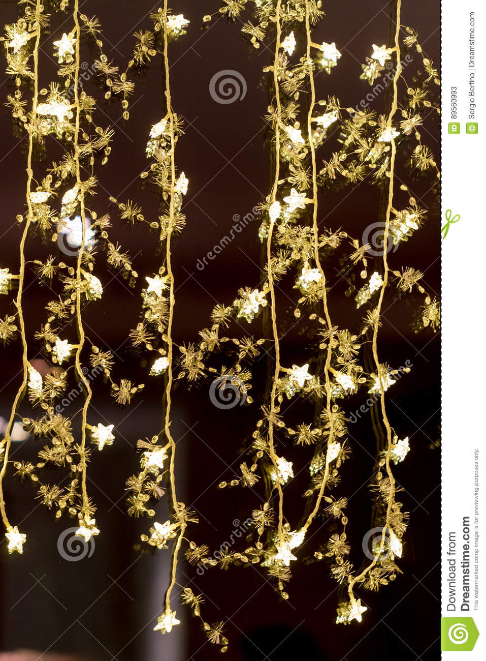 Hanging decorative christmas lights royalty free stock Hanging christmas lights