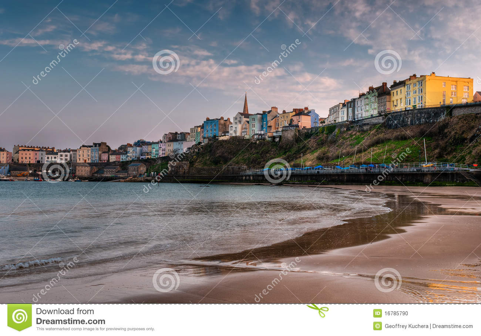 Strandsolnedgång tenby wales