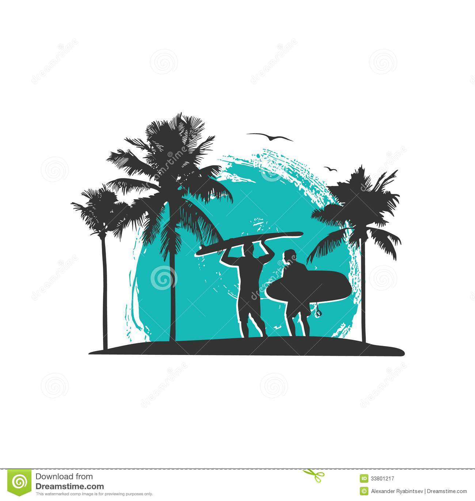 Strandtemaillustration i tappningstil