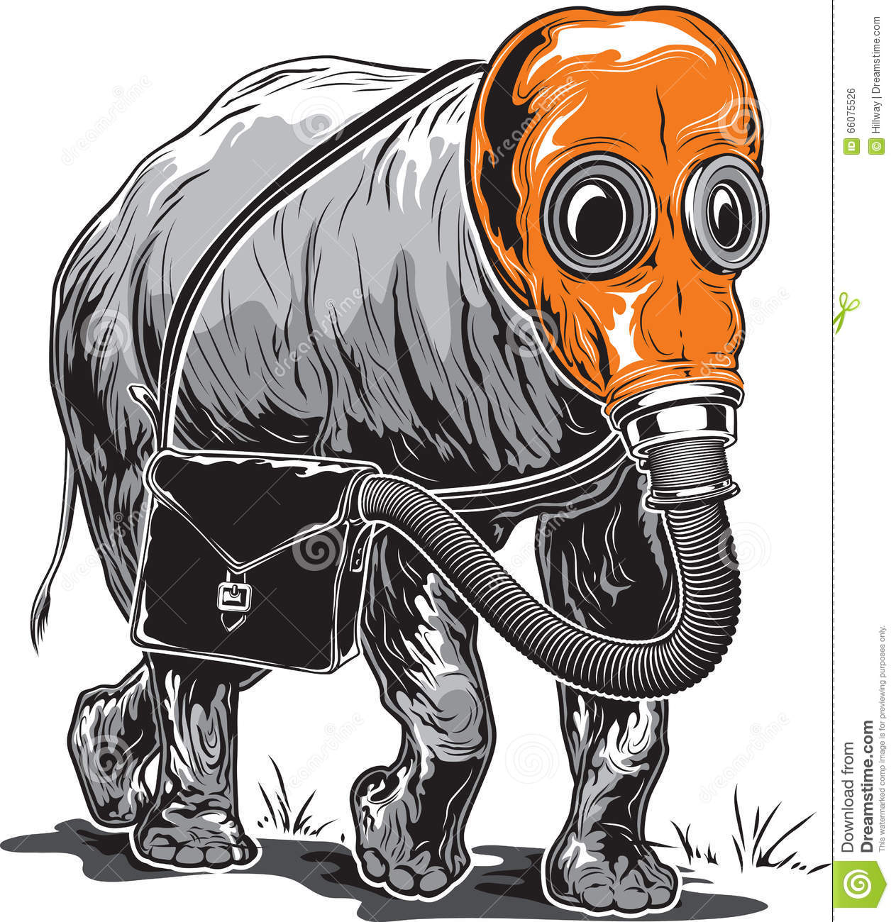 Strange Elephant In An Orange Gas Mask With A Briefcase On Its S ...