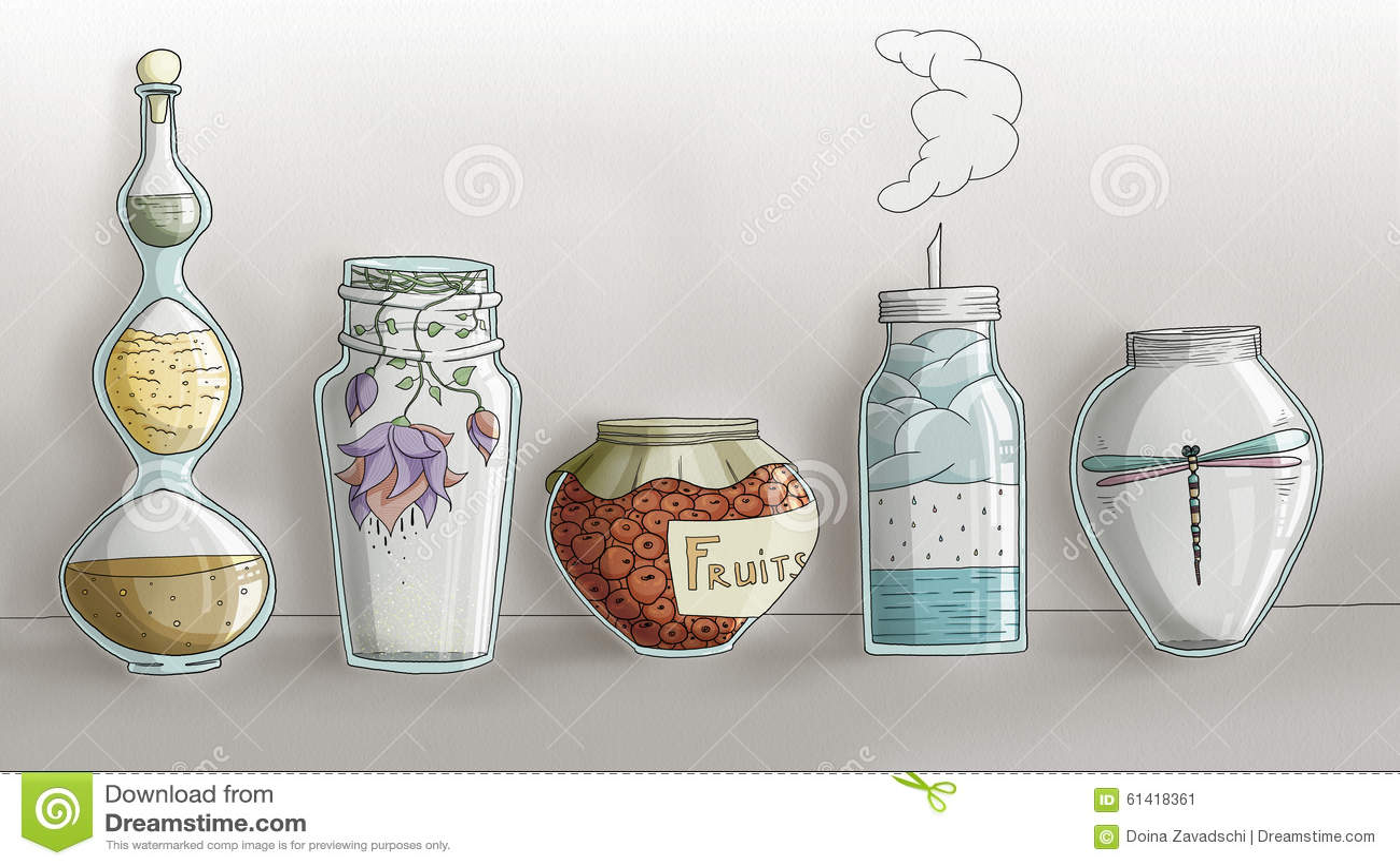 Strange Magic Kitchen Jars - digital hand drawn
