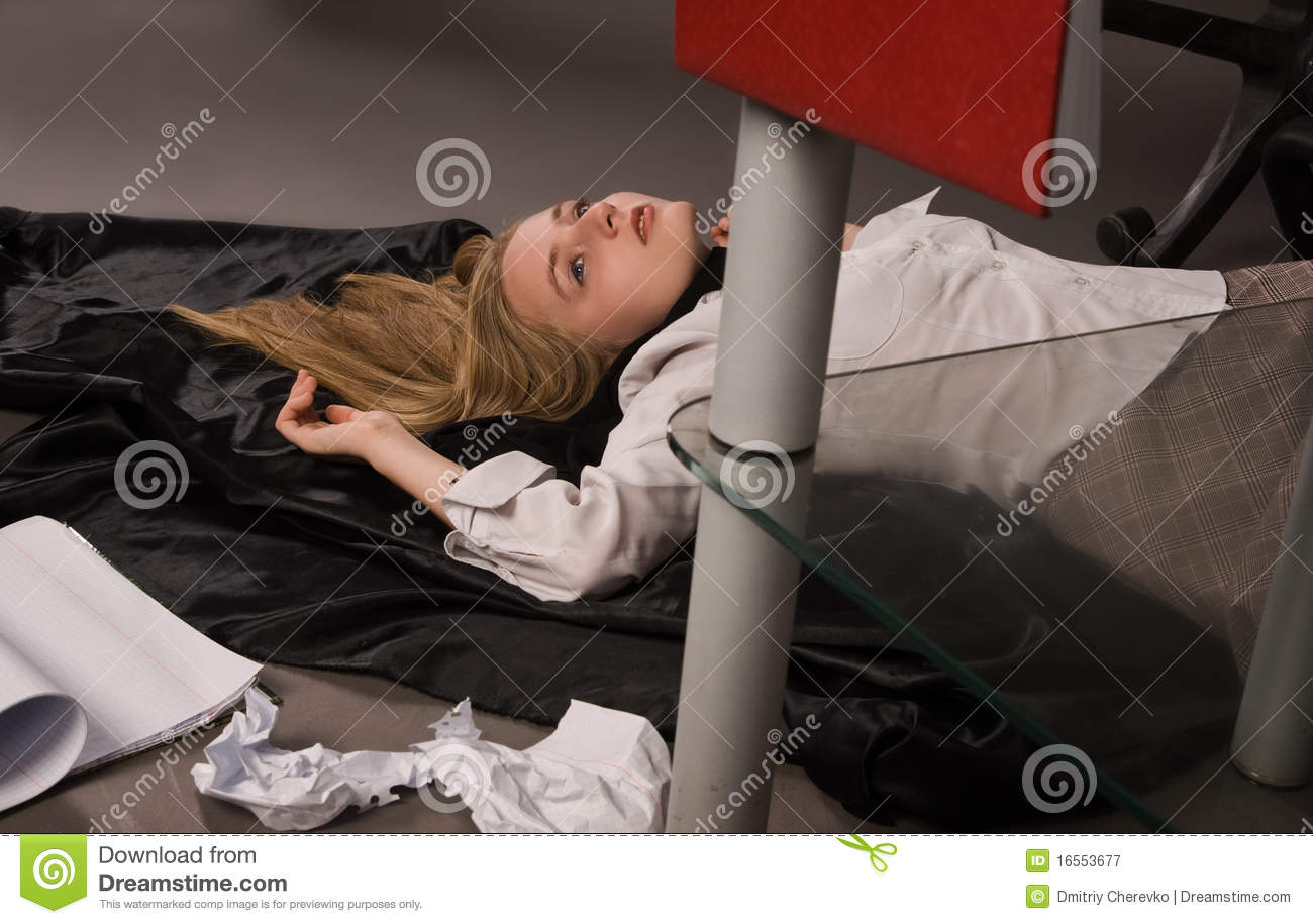 Strangled College Girl On The Floor Royalty Free Stock Photography - Image 16553677-4311