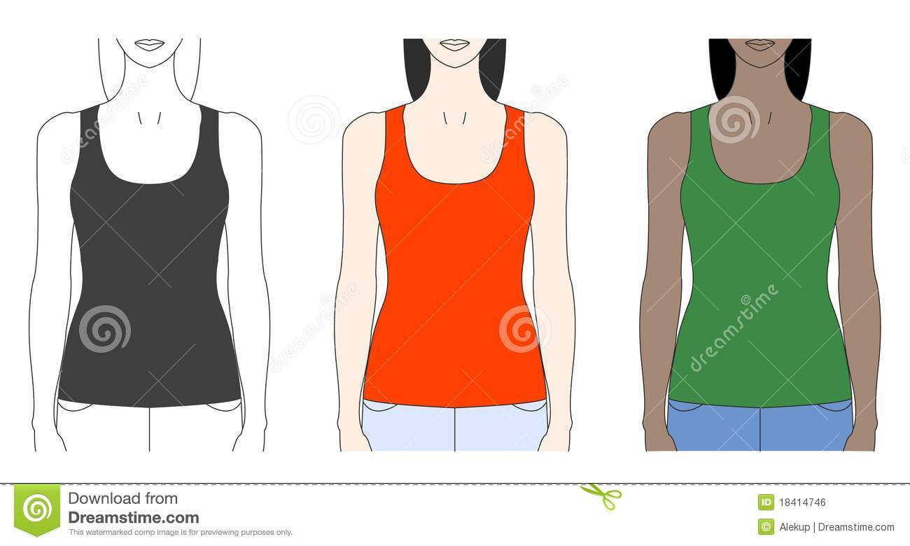 Strap Tank Top Template Stock Vector Illustration Of Outline 18414746