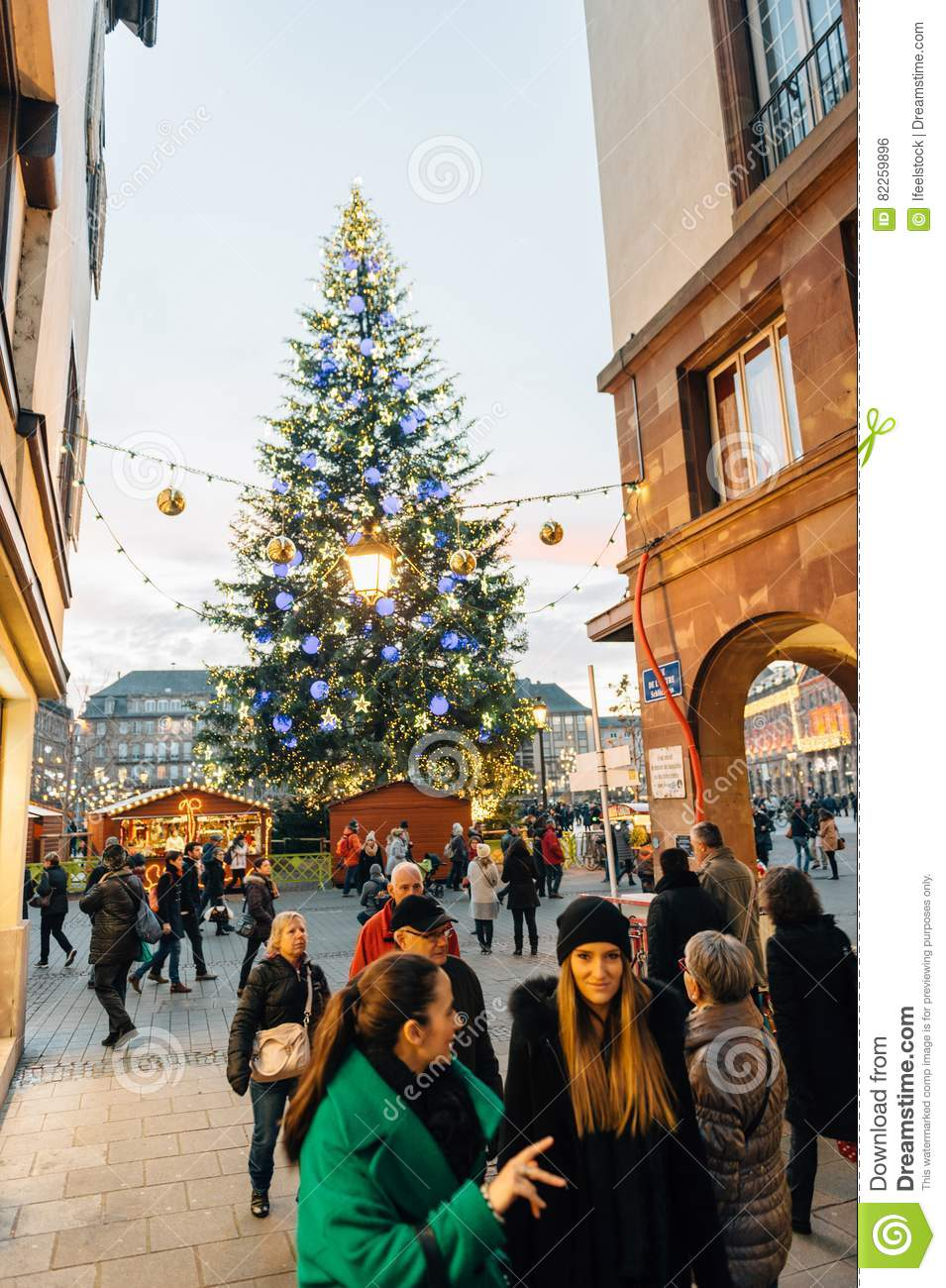 Majestic Christmas.Majestic Christmas Tree In City Editorial Photo Image Of