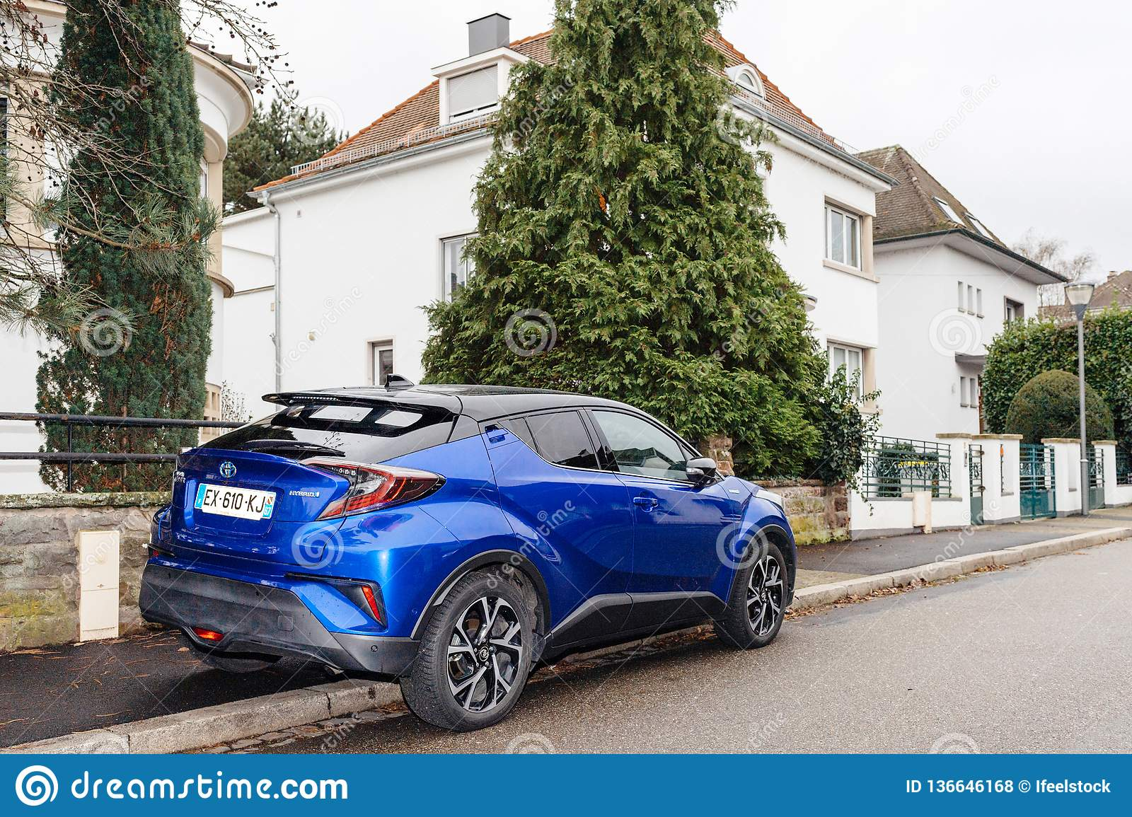 Toyota C Hr Hybrid Blue Suv In French City Road Editorial Stock