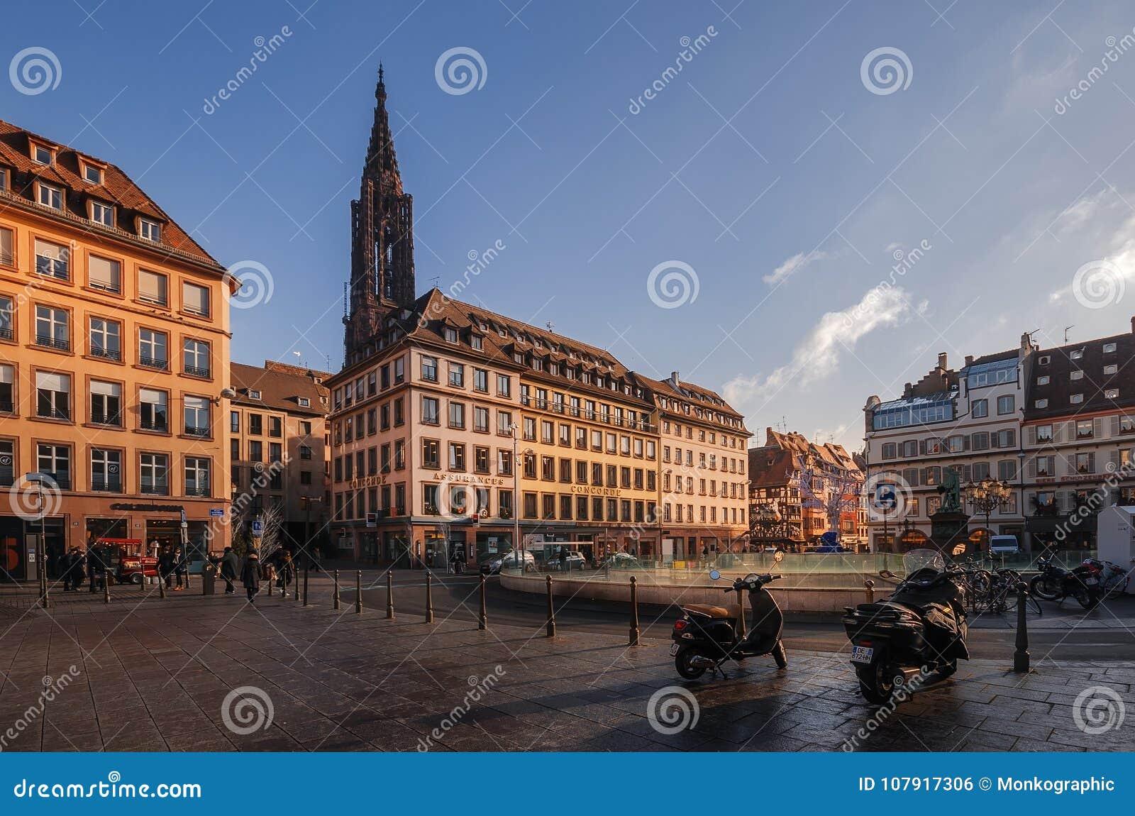 STRASBOURG, FRANCE - JANUARY 5, 2017: Historic area in center of old city of Strasburg