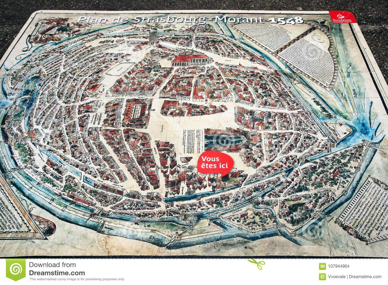Medieval Map Of France.Map Of Strasbourg Town On Square Place Du Chateau Editorial Stock