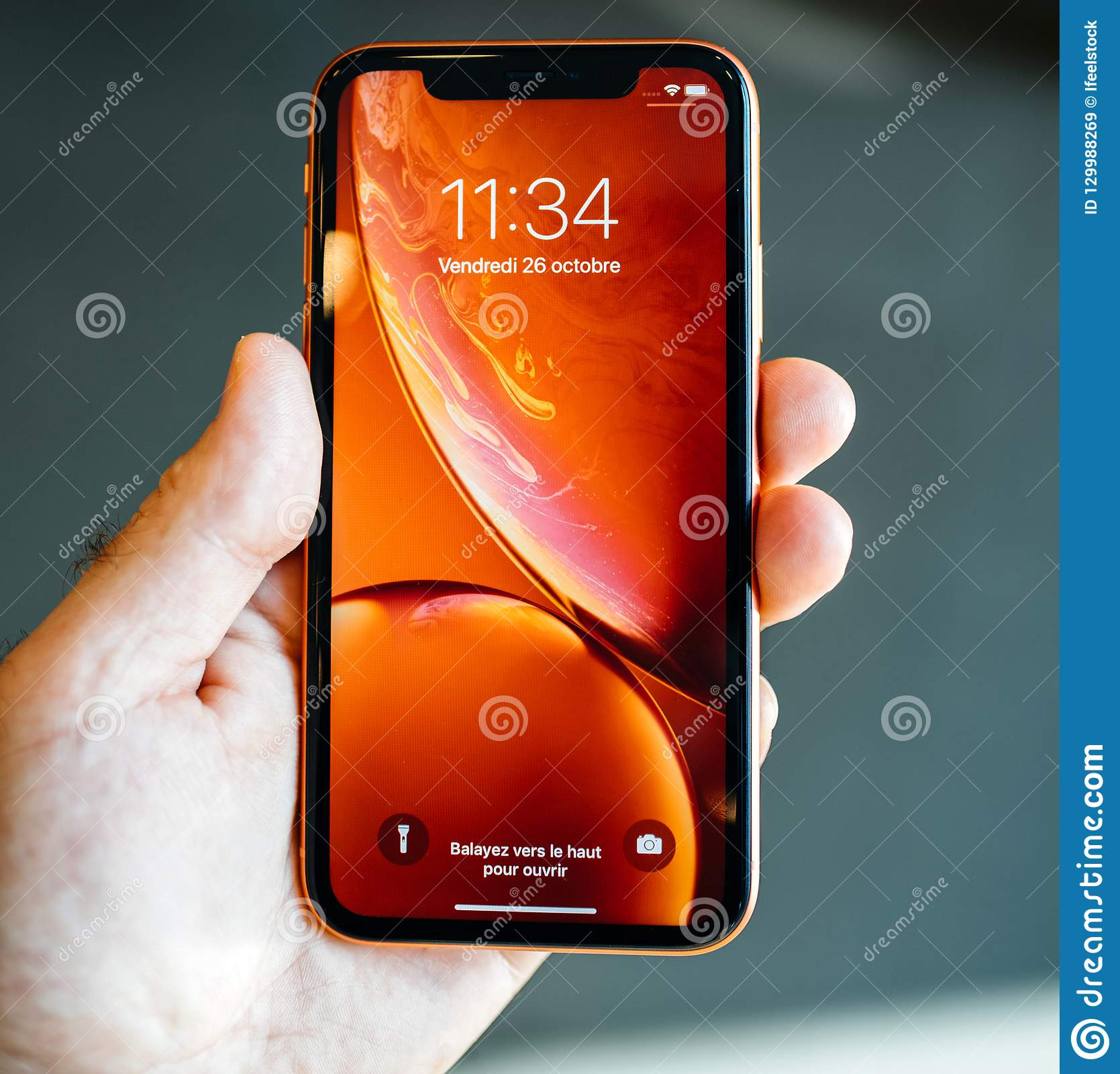 Man New Apple Iphone Xr Red Square Image Editorial Stock Image