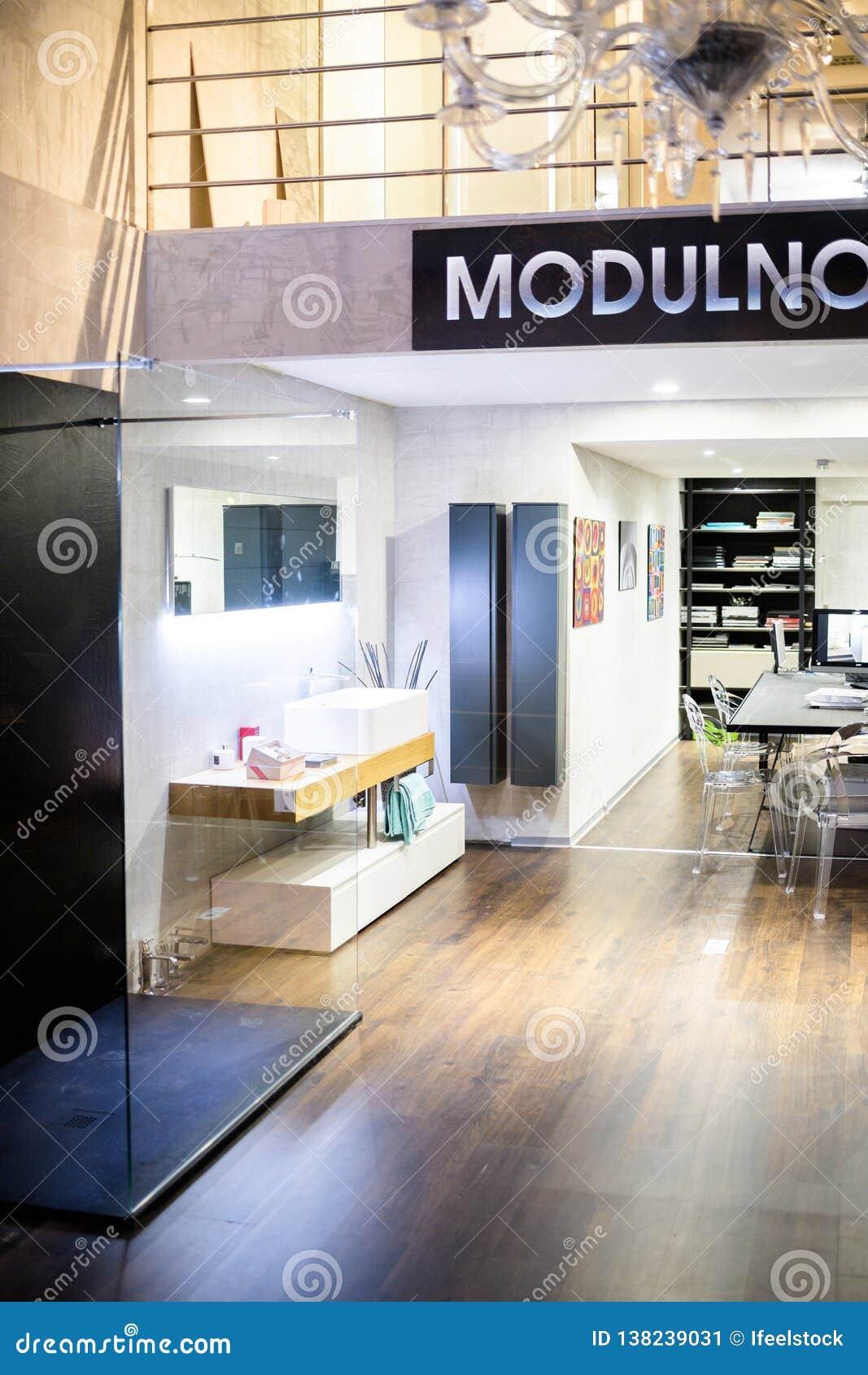 Luxury interior designer showroom view from the street