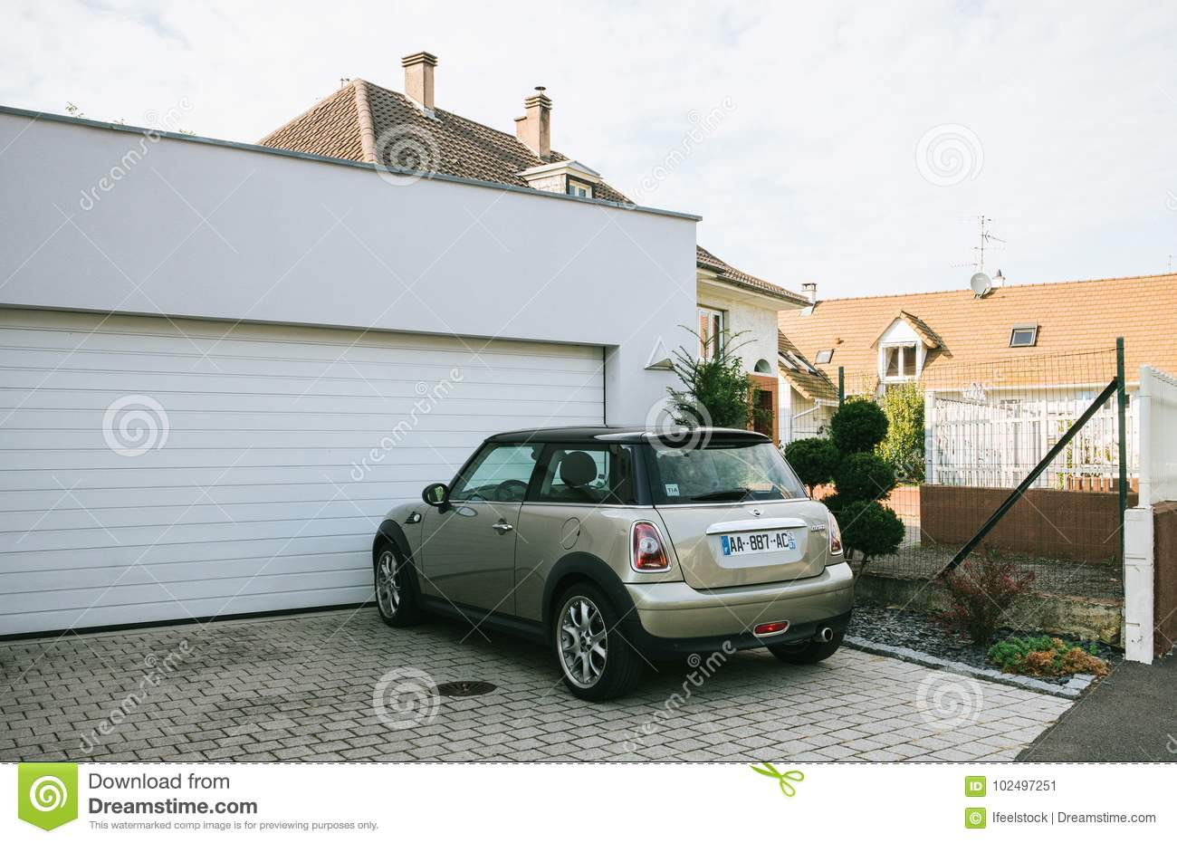 Mini Cooper Car Parked In Front Of House Editorial Photo Image Of