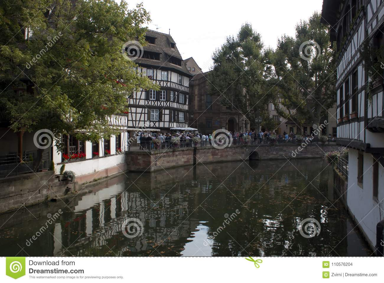 Strasbourg, France - September 3, 2015: Houses near the La Maison des Tanneurs restaurant. It was constructed in 1572 and became